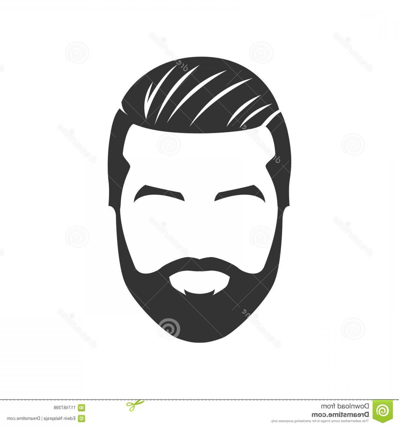 Mustache Face Vector: Vector Bearded Man Face Mustache Isolated Background Hairstyle Image