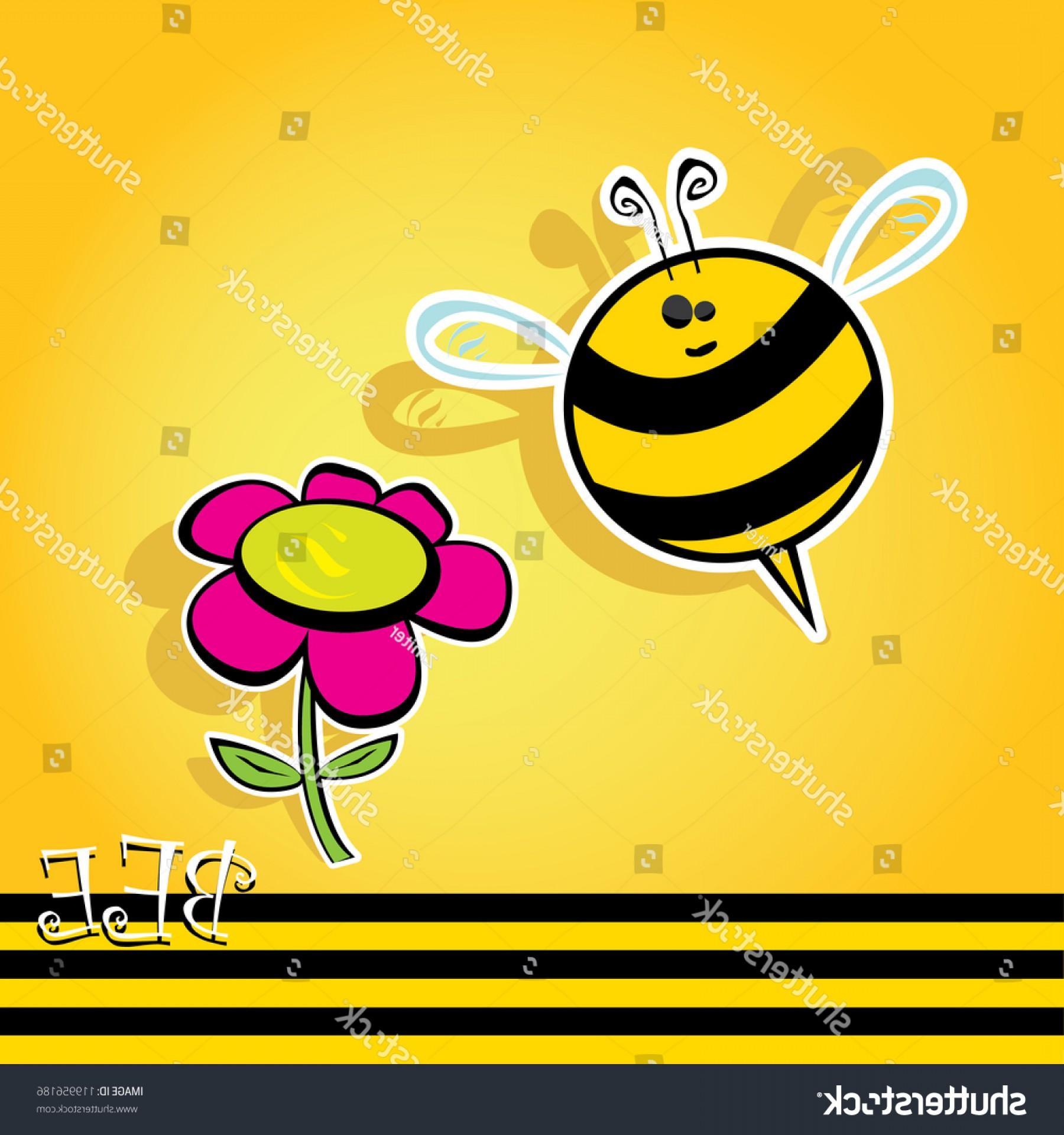 Vector Bee Icon: Vector Bee Icon Flower Cartoon Cute