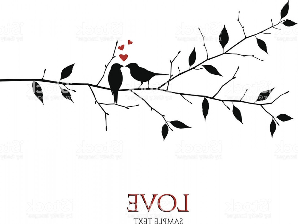 Black And White Bird Free Vector Graphics: Vector Birds On Branch Love And Romance Concept Gm