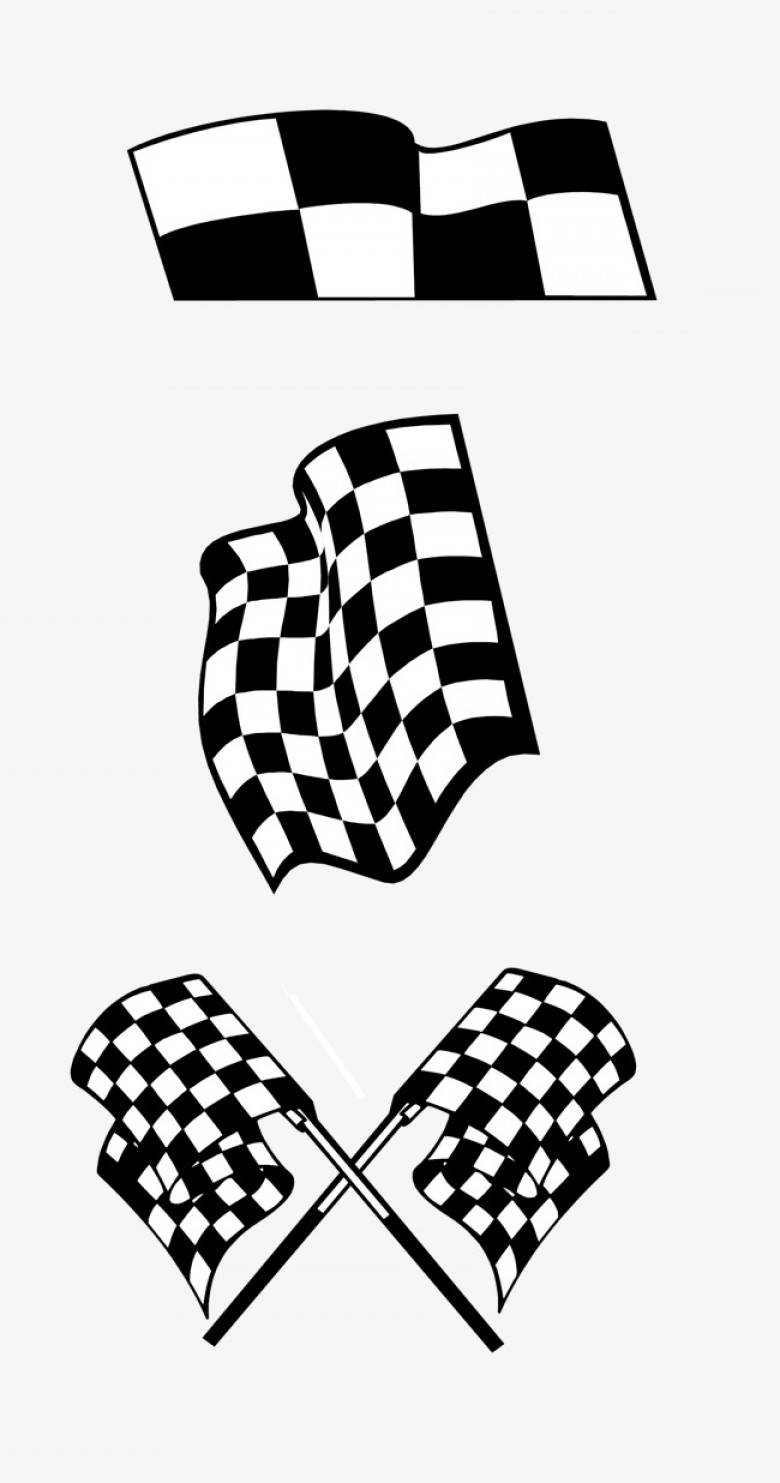 Black And White Vector Racing Graphics: Vector Black And White Racing Flags