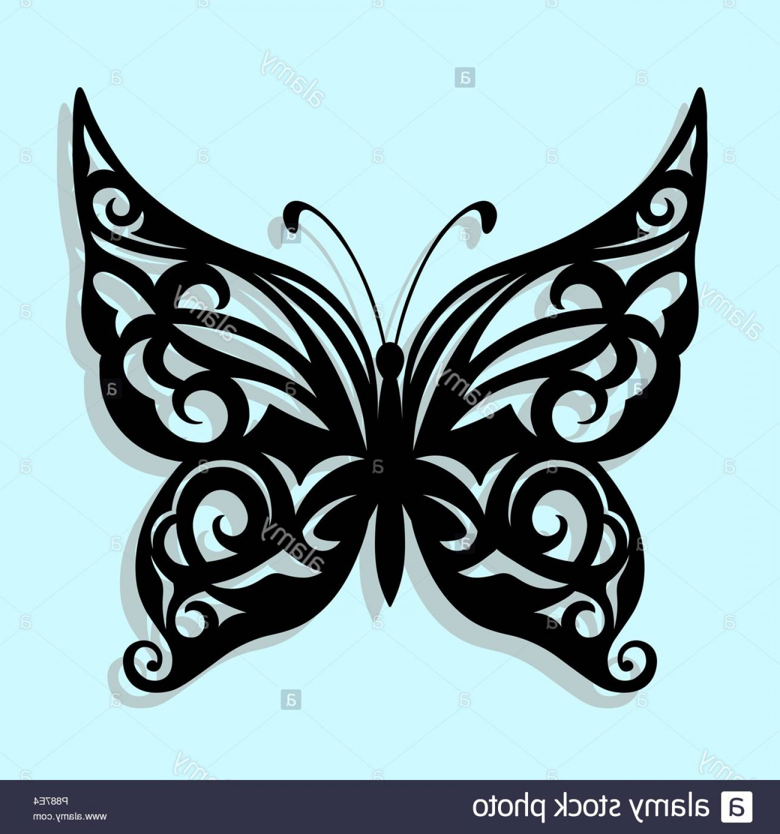 Mariposa Vector: Vector Black Butterfly On A Blue Background Laser Cutting Image