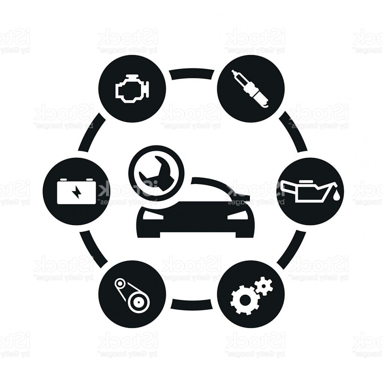 Workshop Icon Vector: Vector Black Car Service Icon Set Gm