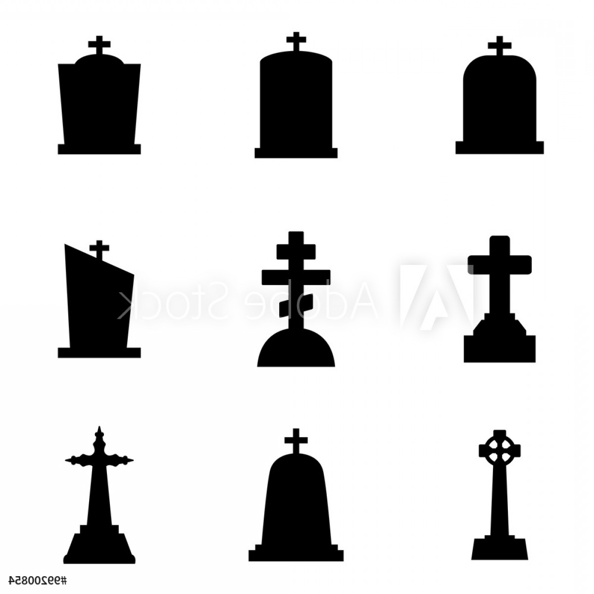 Gravestone Black And Whit Vector JPEG: Vector Black Gravestone Icon Set F