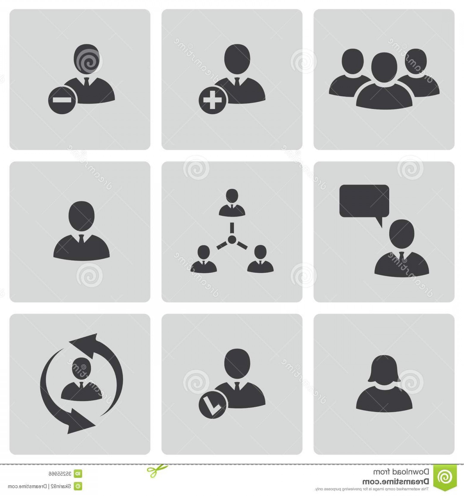 Vector People Free Clip Art: Vector Black Office People Icons Set Illustration