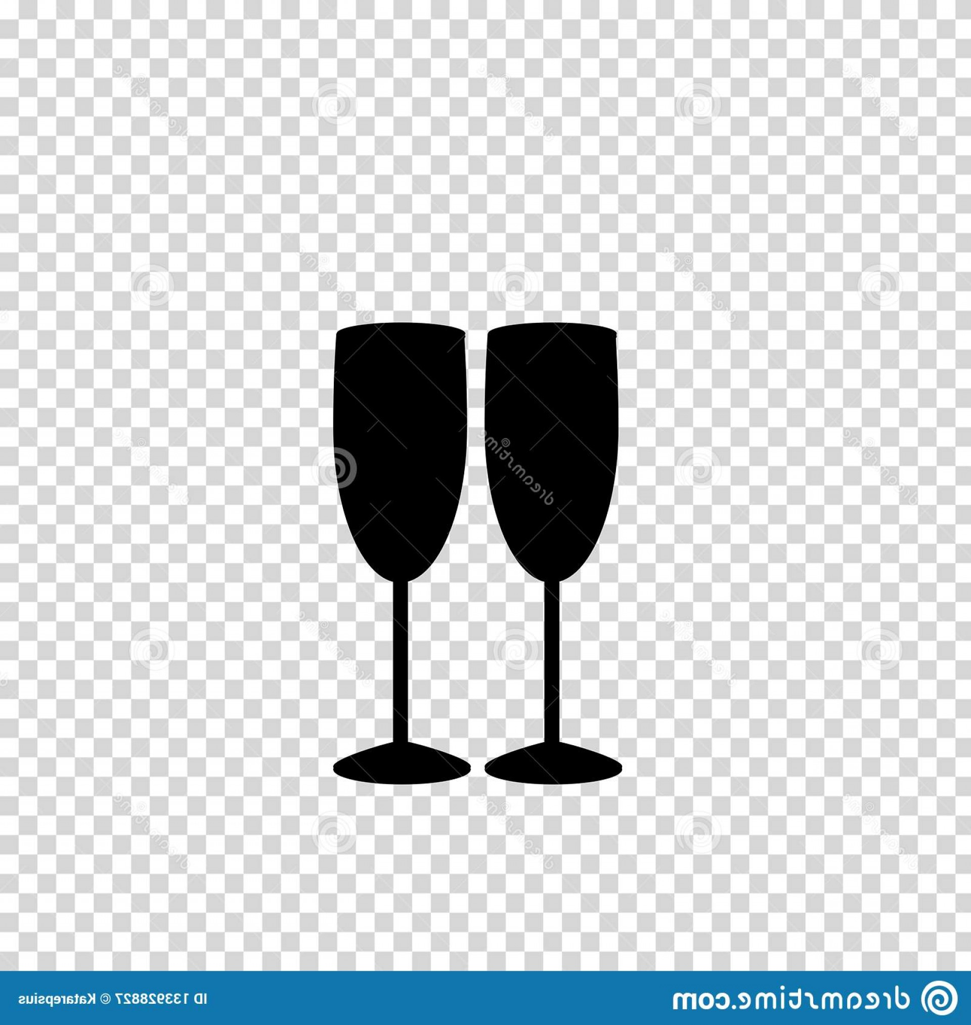 Single Wine Glass Silhouette Vector: Vector Black Silhouette Couple Wine Glasses Isolated Monochrome Illustration Two Champaign Champagne Cheers Icon Fragile Image