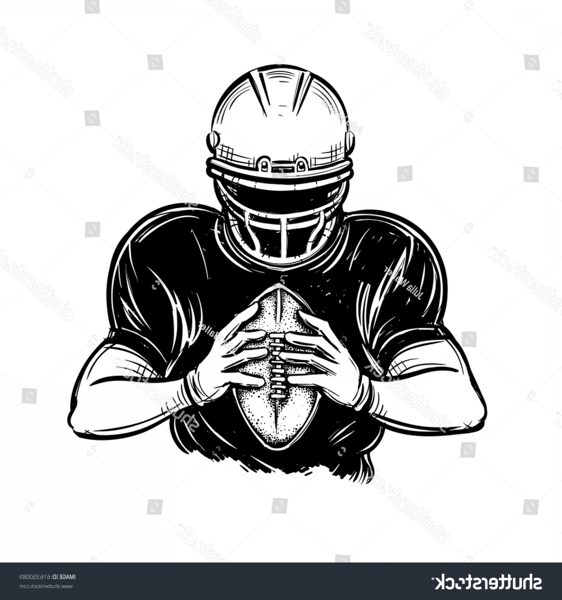 Black And White Vector American Football: Vector Black White American Football Player