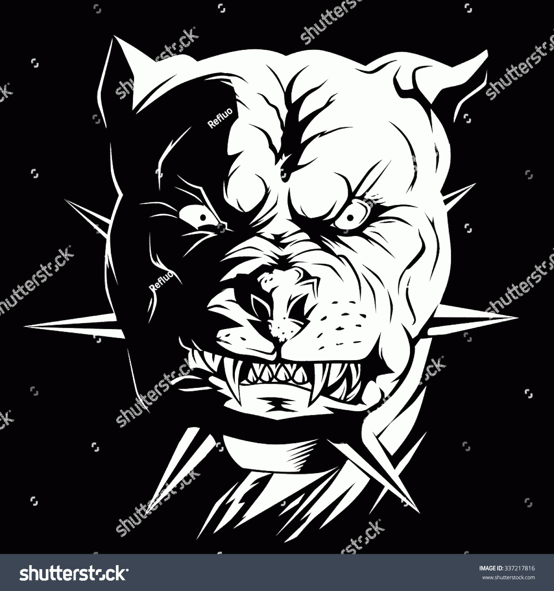 Angry Dog Vector Black And White: Vector Black White Head Angry Dog