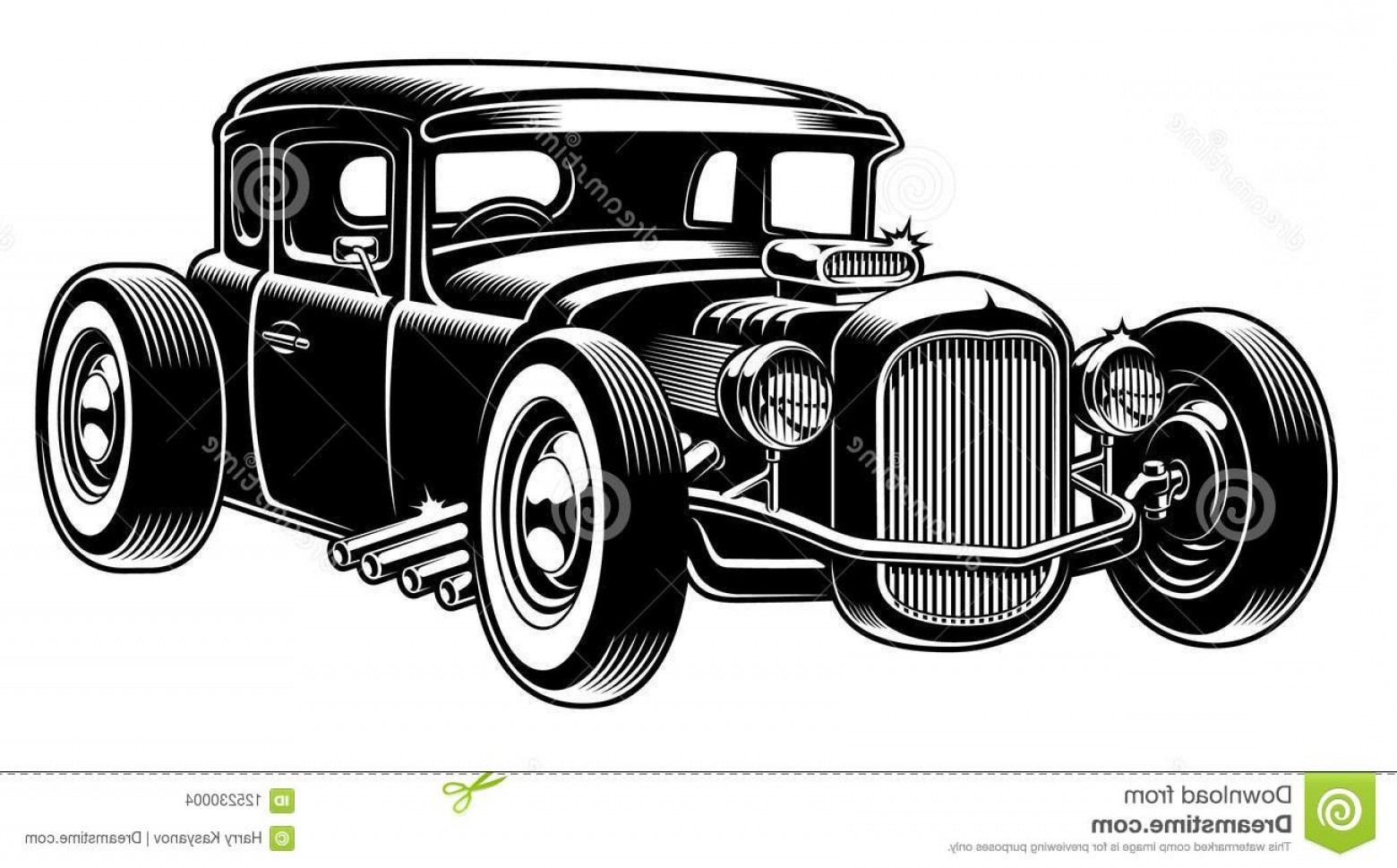 Classic Street Rod Vector Art: Vector Black White Illustration Hot Rod Vector Illustration Classic Hot Rod Isolated White Background Image