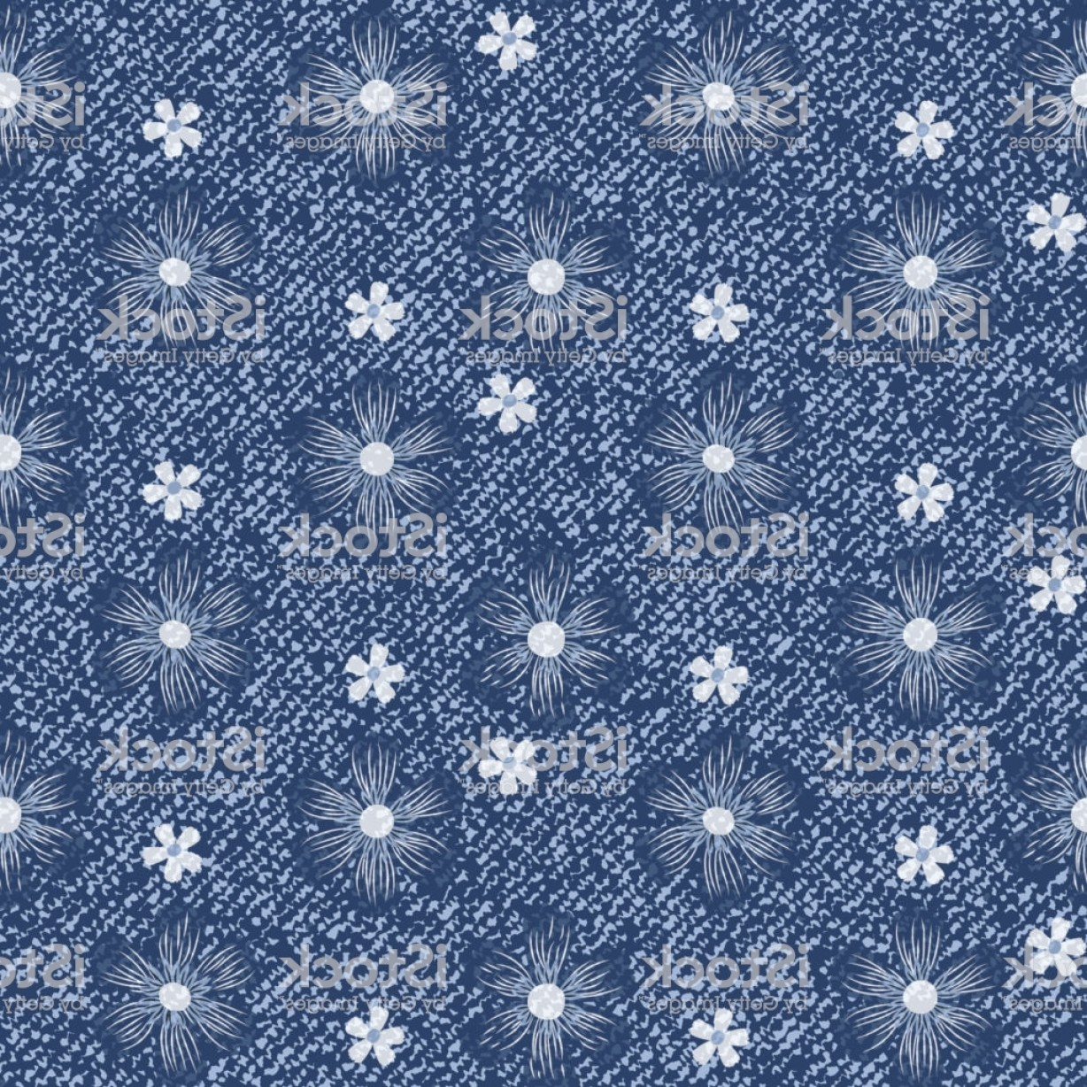 Denim And Pearls Vector: Vector Blue Jeans Background With Flowers Daisies Seamless Pattern Denim Floral Gm