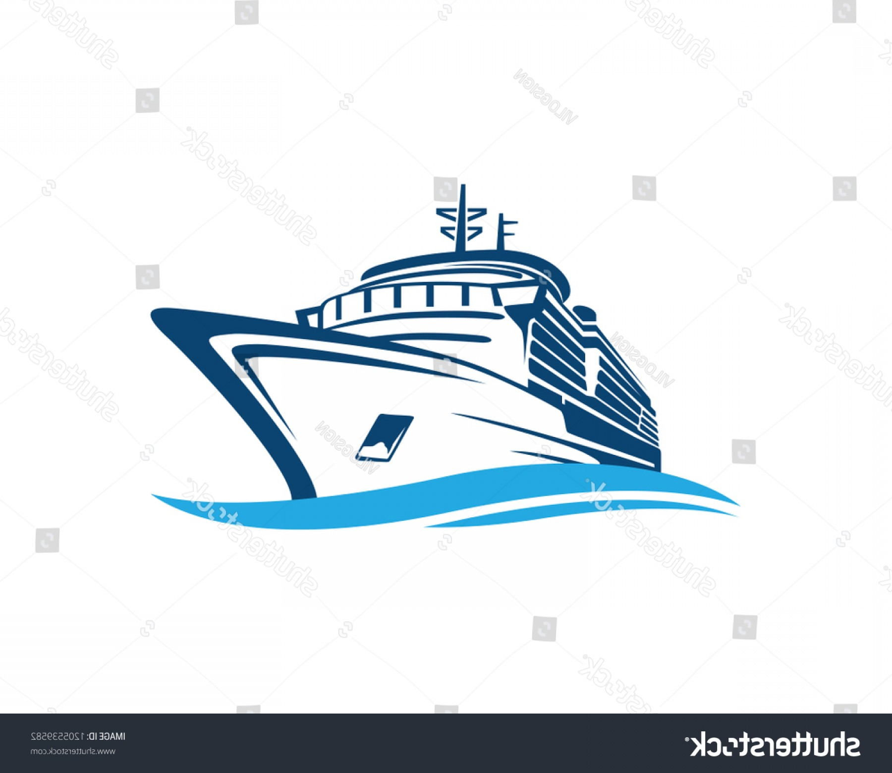 Waves With Cruise Ship Silhouette Vector: Vector Blue Traveling Cruise Ship Wave