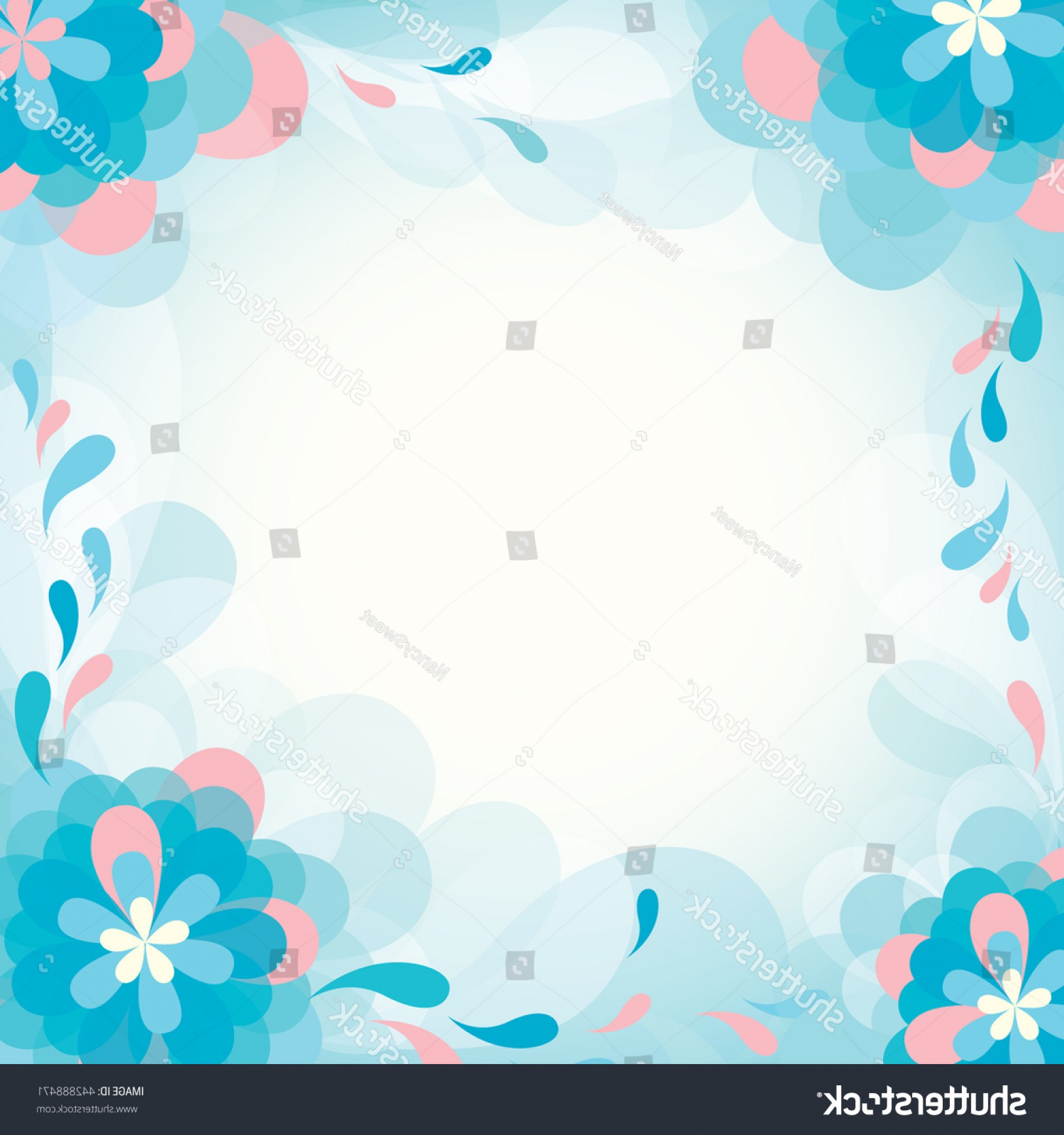 Blue Vector Border Frame: Vector Border Frame Blue Flowers Background
