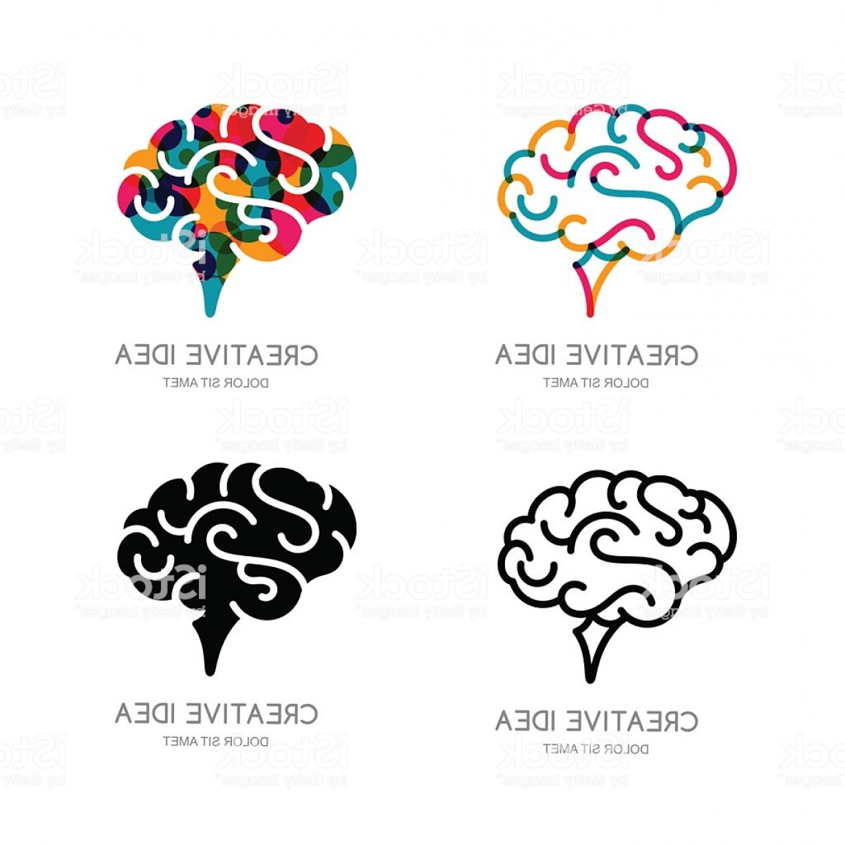 Brain Vector Art: Vector Brain Sign Or Emblem Design Elements Outline Human Brain Gm