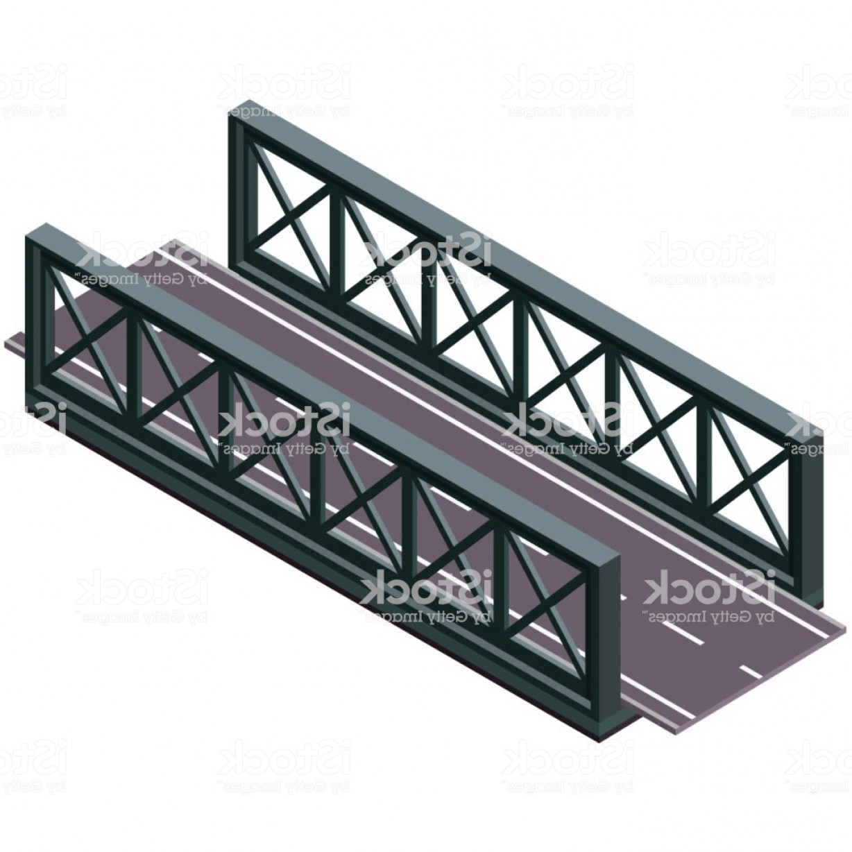 Vector Scissors Truss: Vector Bridge In Isometric D Perspective Isolated On White Background With Asphalt Gm