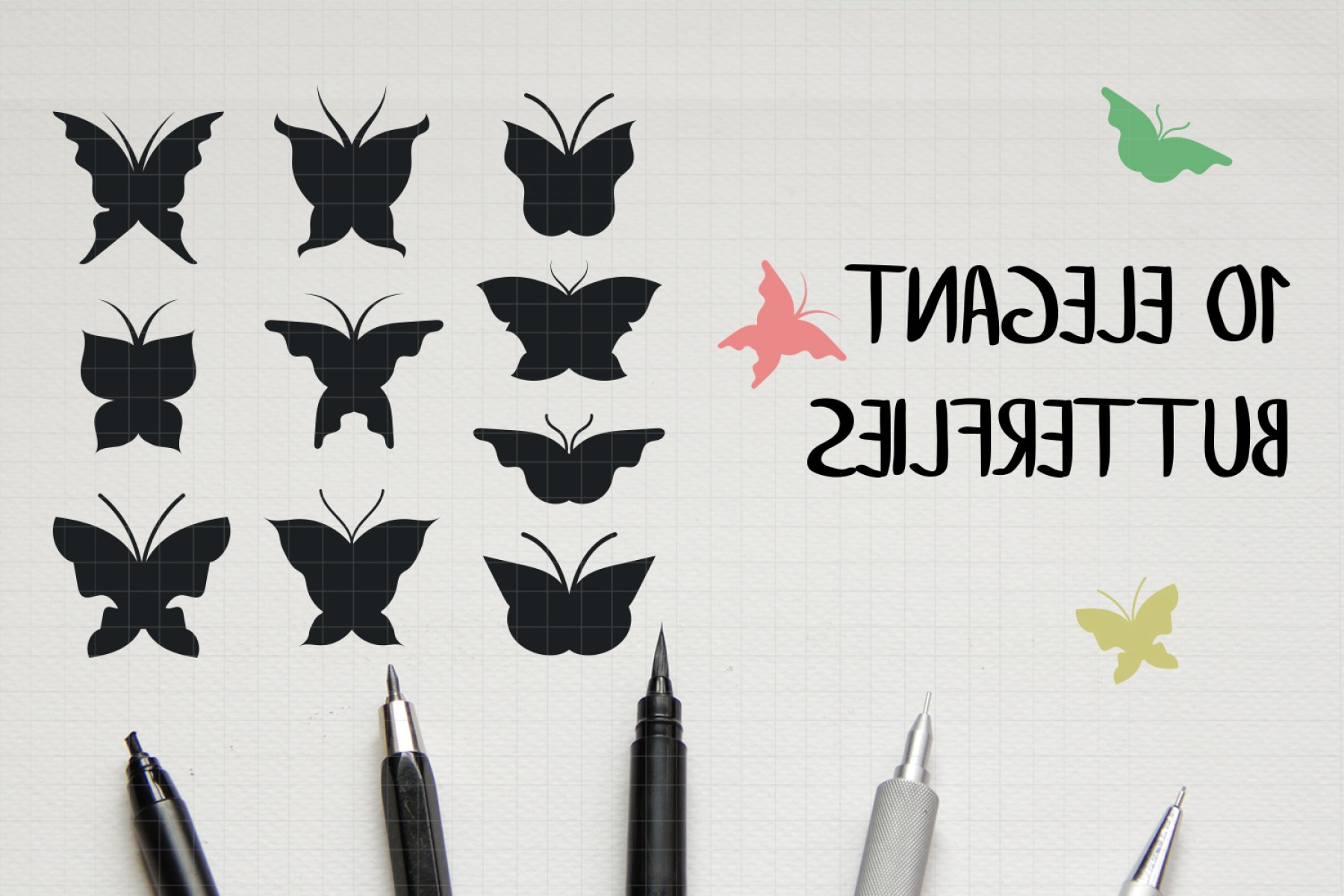 Vector Butterfly Clip Art: Vector Butterfly Clipart Pack Hand Drawn Cutting F