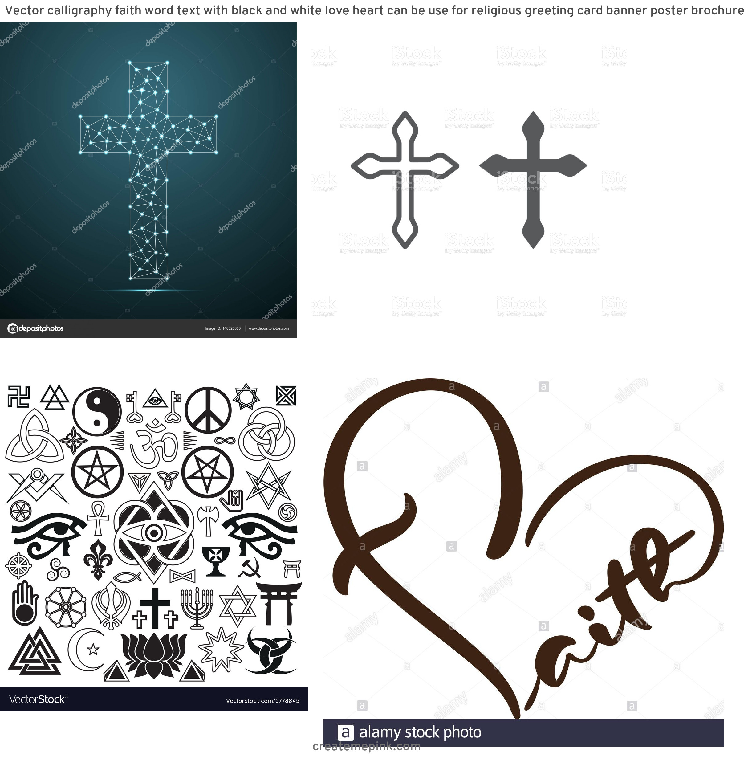 Religous Vectors: Vector Calligraphy Faith Word Text With Black And White Love Heart Can Be Use For Religious Greeting Card Banner Poster Brochure Or Typography Image