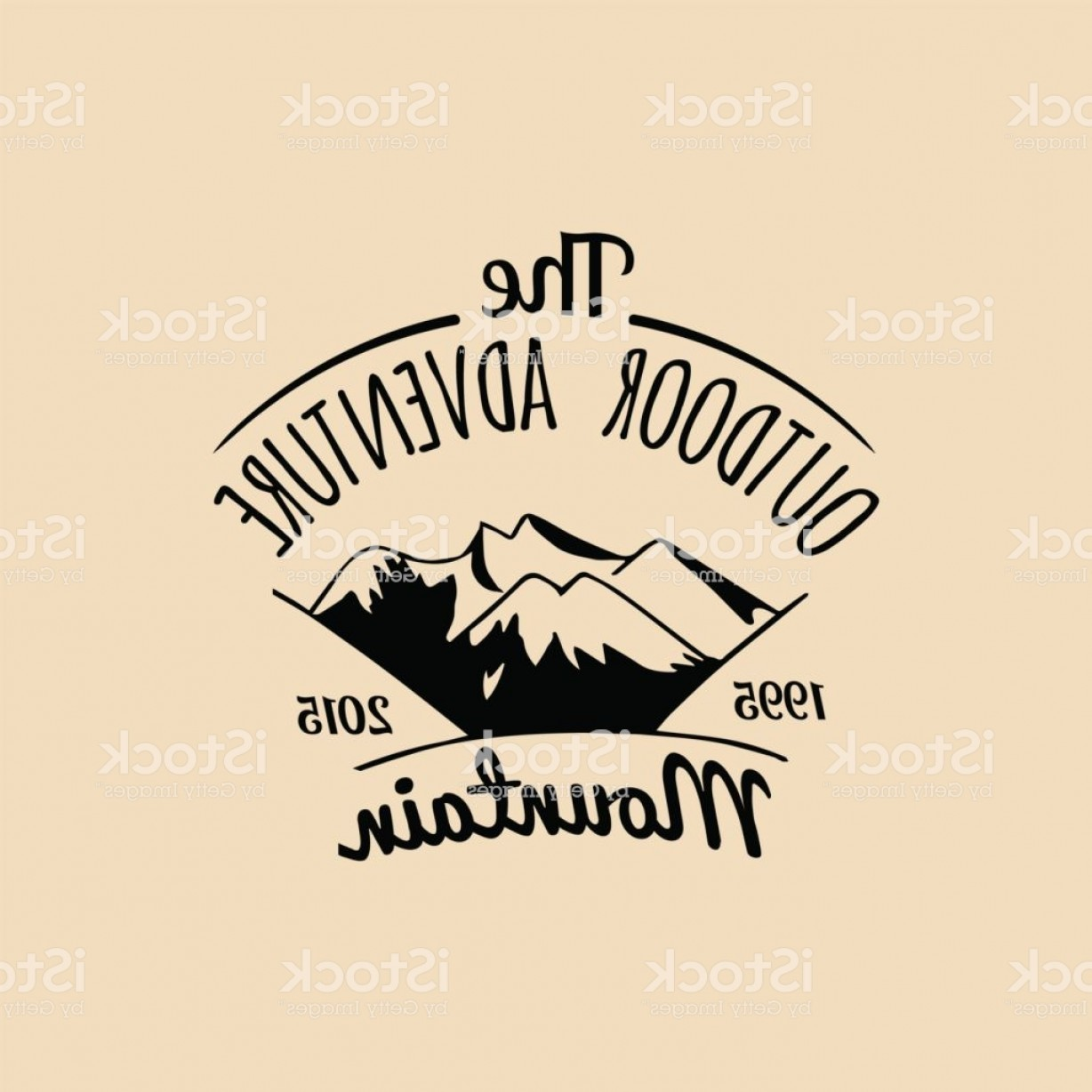 Hipster Logo Vectors Mountain: Vector Camp Icon Tourism Sign With Hand Drawn Mountains Landscape Retro Hipster Gm
