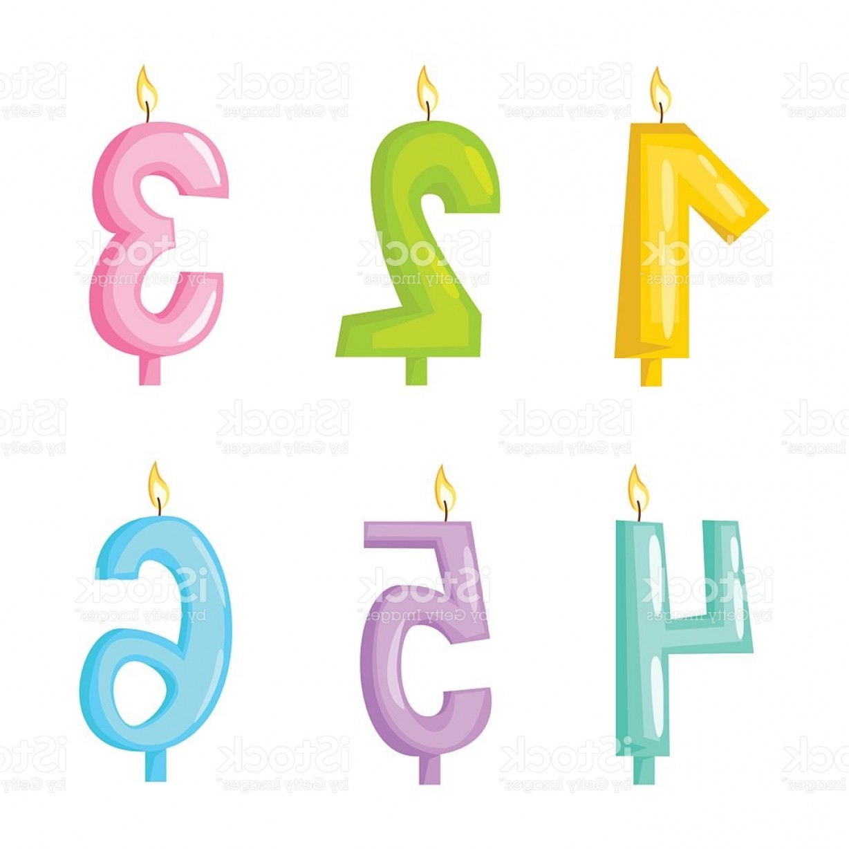 Birthday Candle Vector Art: Vector Candle Numbers With Fire Gm
