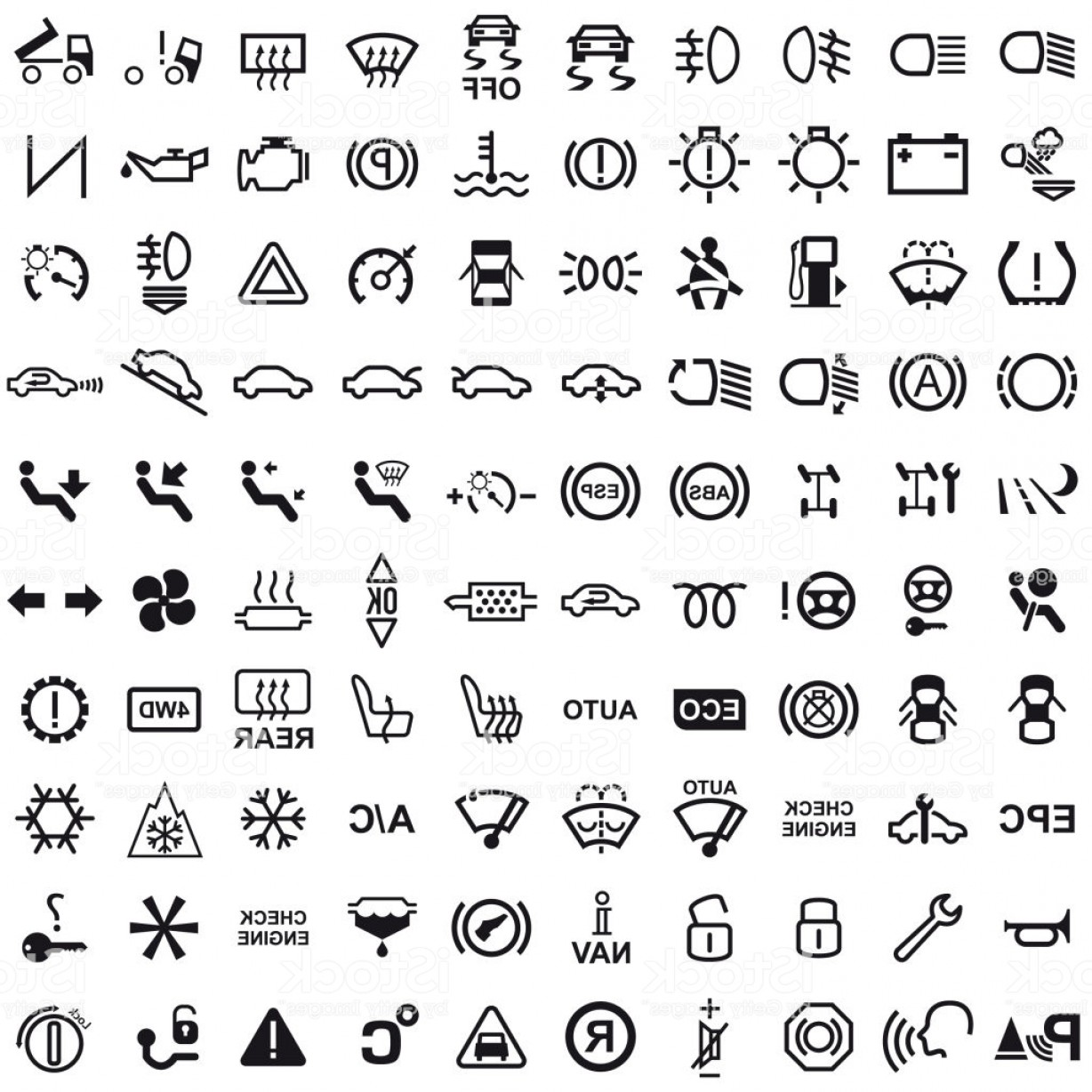 In Icon Stock Vector: Vector Car Dashboard Icons Gm