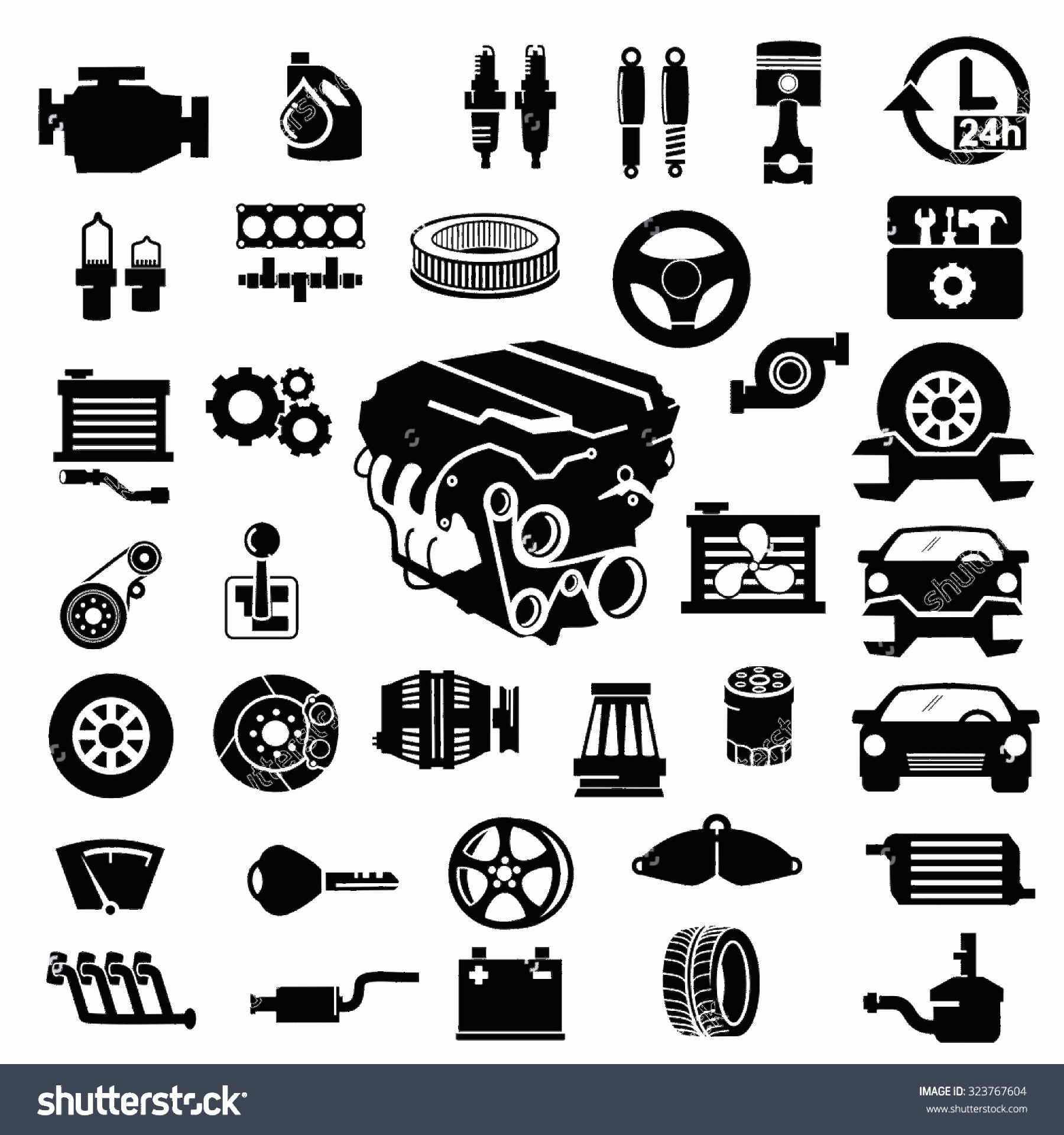 Vector Car: Vector Car Parts Set Icons