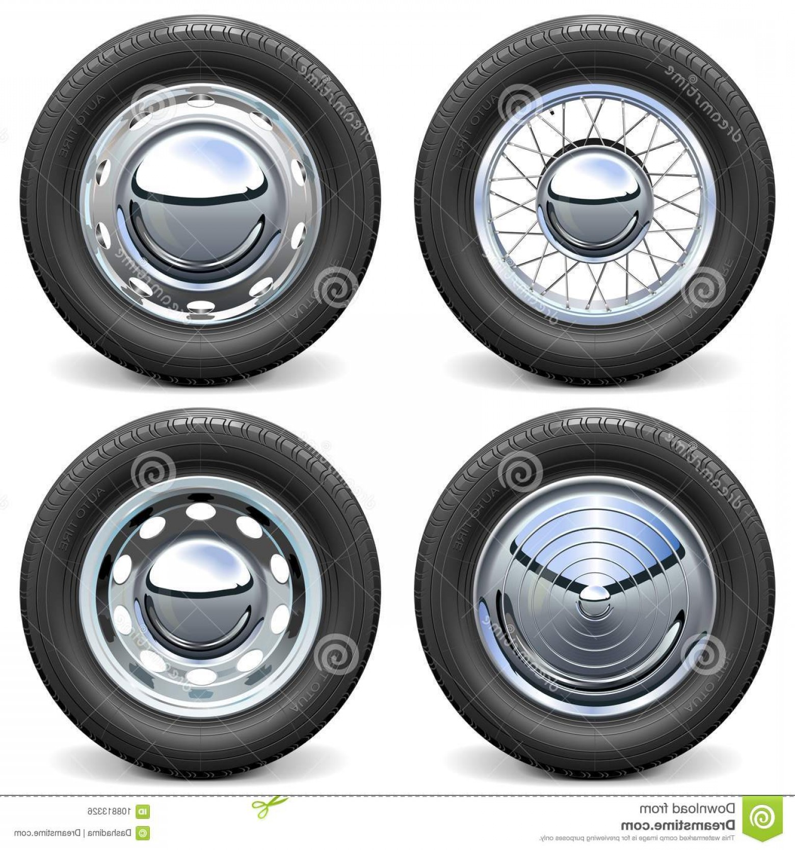 MB Wheels Vector Chrome: Vector Car Tires Chrome Disks Vector Car Tires Chrome Disks Isolated White Background Image