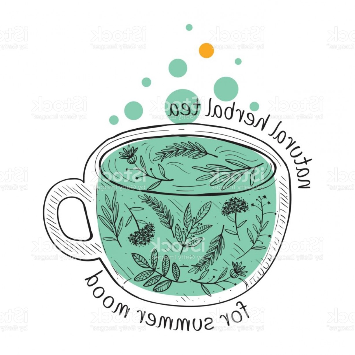 Vintage Tea Cup Vector: Vector Card Design With Hand Drawn Tea Illustration Decorative Inking Background Gm