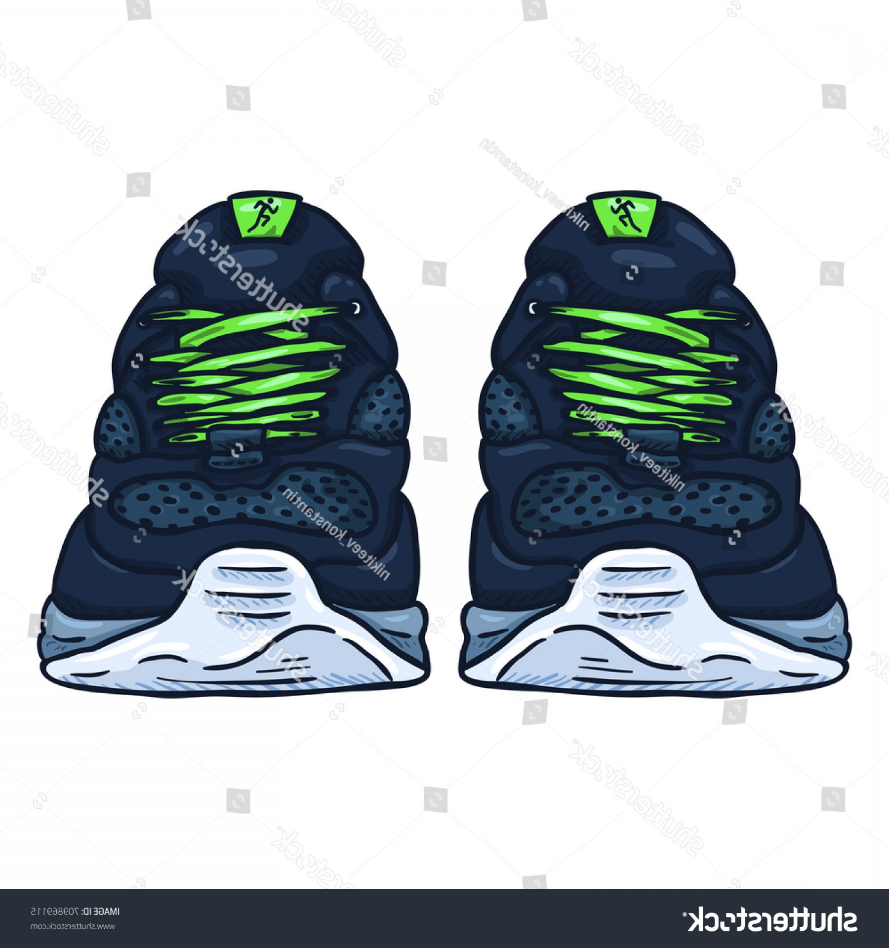 Nike Volleyball Vector Designs: Vector Cartoon Blue Running Shoes Front