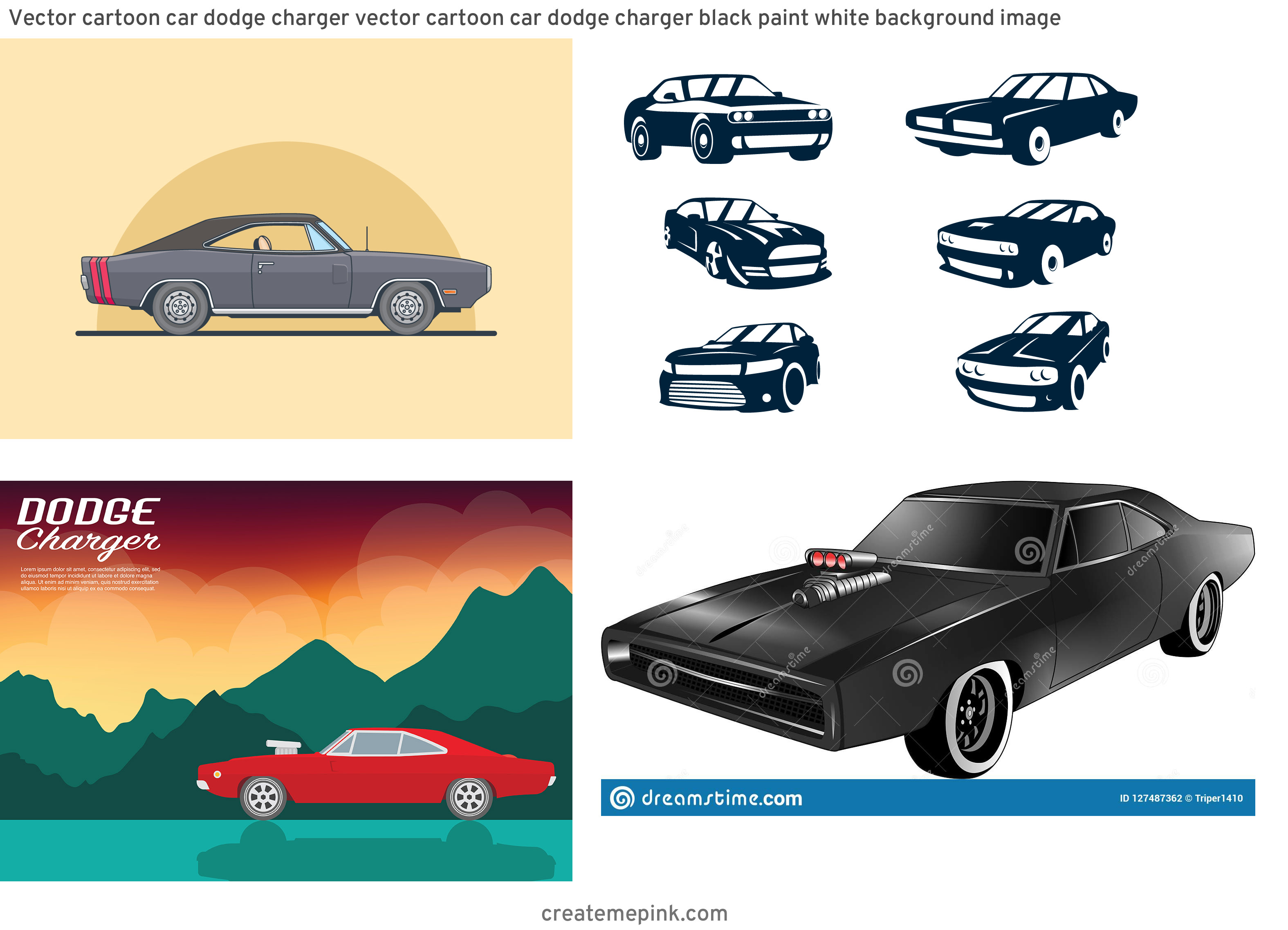 Dodge Charger Vector Graphics: Vector Cartoon Car Dodge Charger Vector Cartoon Car Dodge Charger Black Paint White Background Image