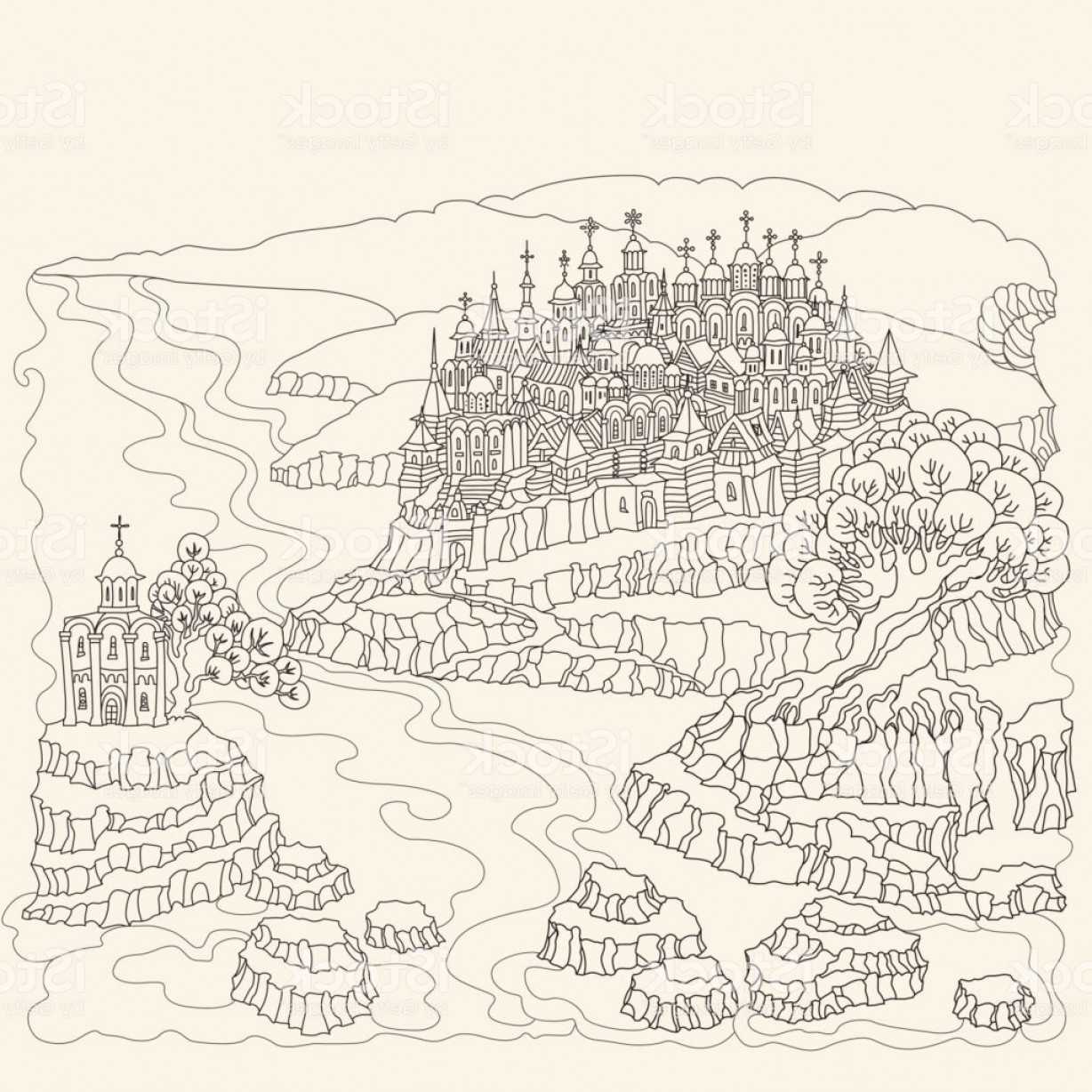 Hand Drawn Vector Fairy Tale: Vector Cartoon Fairy Tale Landscape Medieval Castle With Old Town Wooden Towers Hand Gm