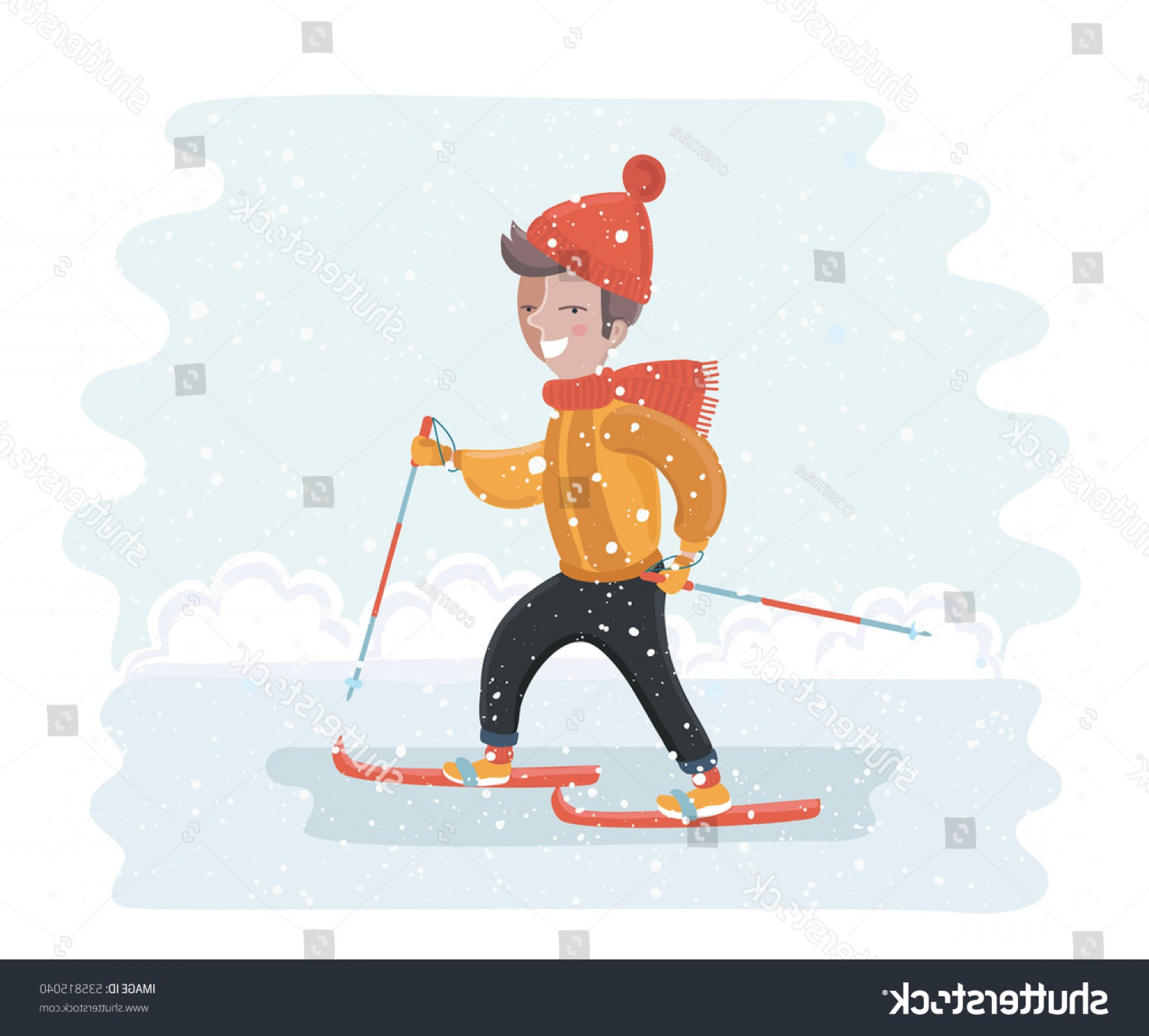 Transparent PNG Vector Skier: Vector Cartoon Funny Illustration Cute Smiling