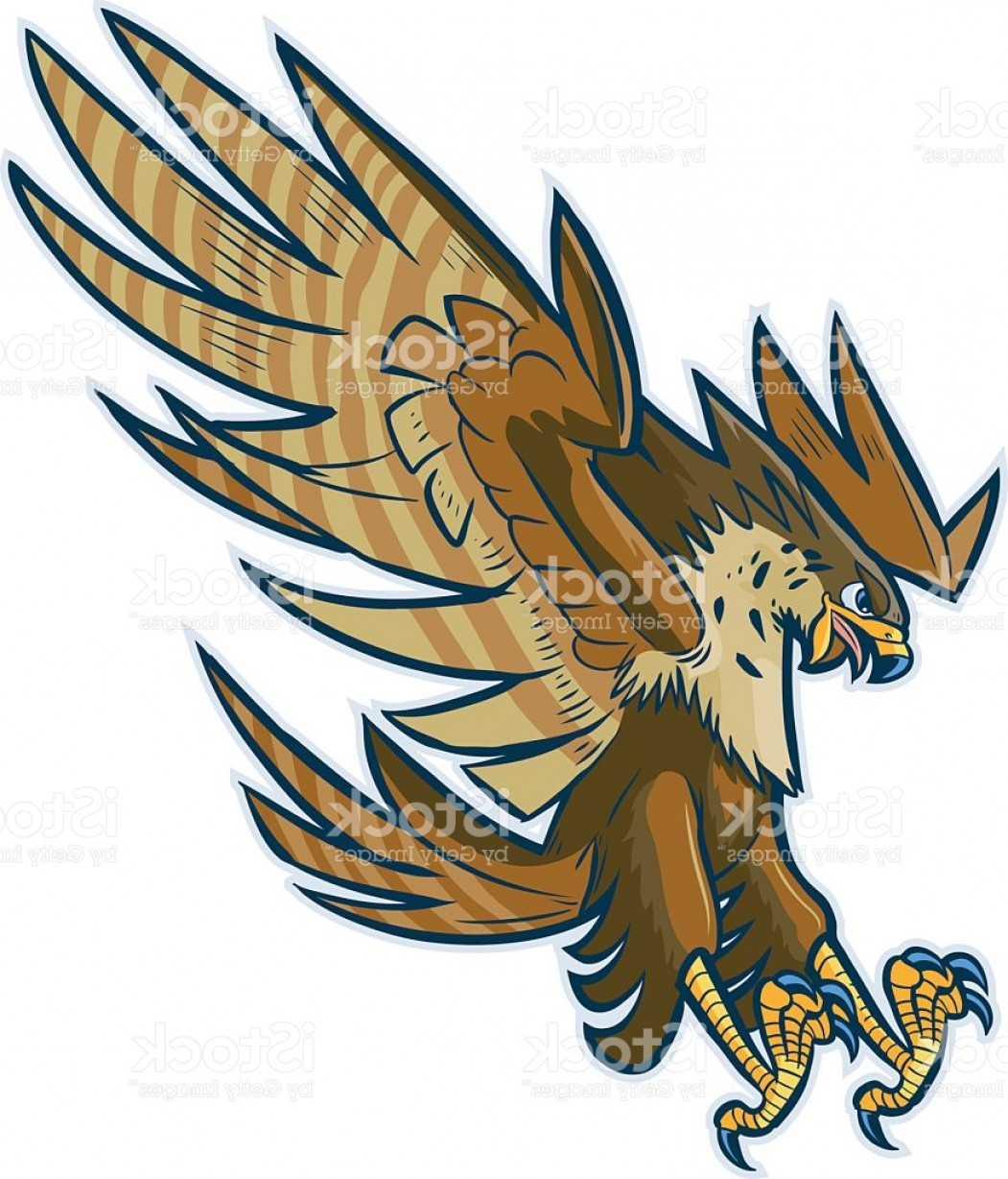 Falcon Wing Vector Art: Vector Cartoon Hawk Eagle Or Falcon Diving Or Swooping Gm