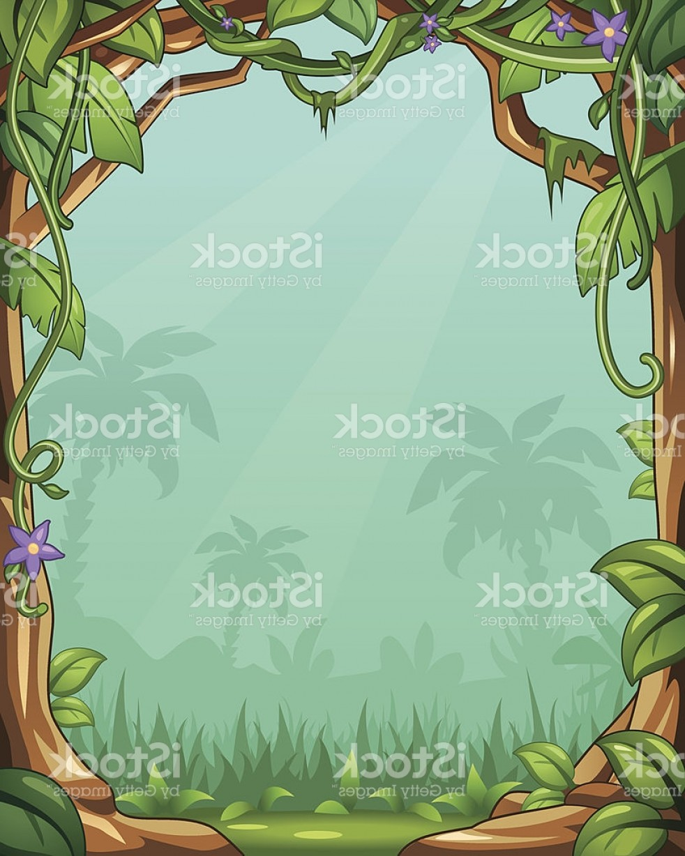 Vector Vine Tree: Vector Cartoon Jungle Background With Vines And Palm Trees Gm