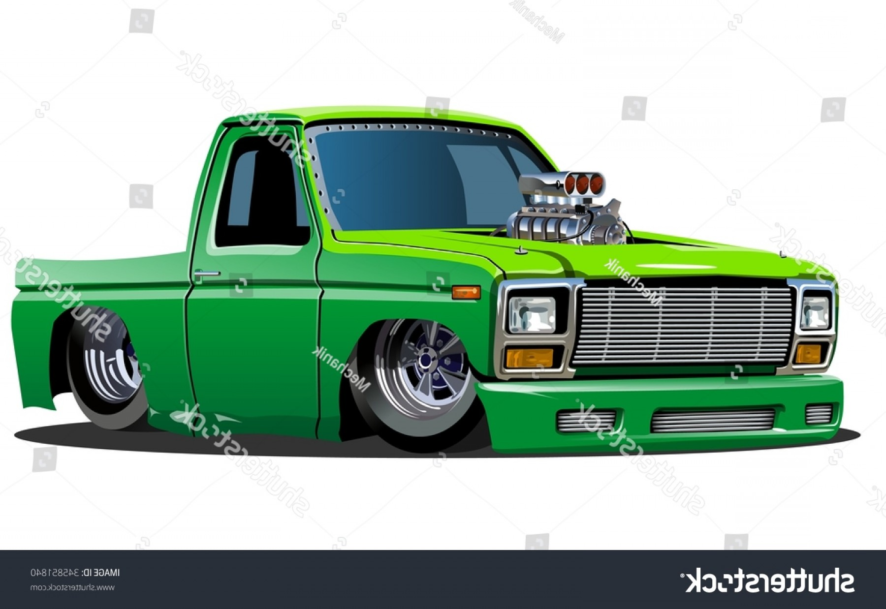 Lowrider Vector: Vector Cartoon Lowrider Pickup Available Eps