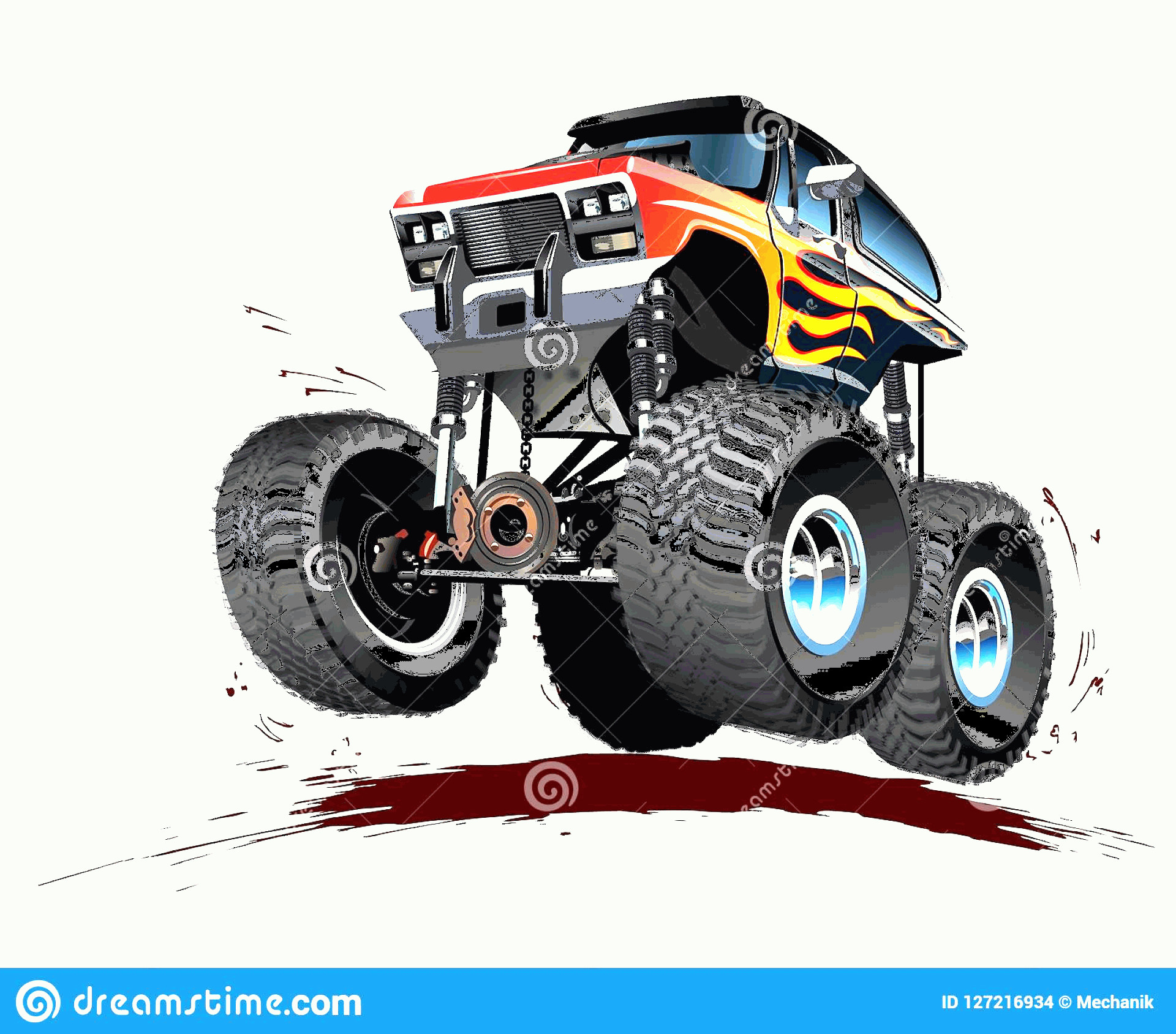 Monster Truck Tires Vector: Vector Cartoon Monster Truck Available Eps Separated Groups Layers Transparency Effects One Click Repaint Isolated Image