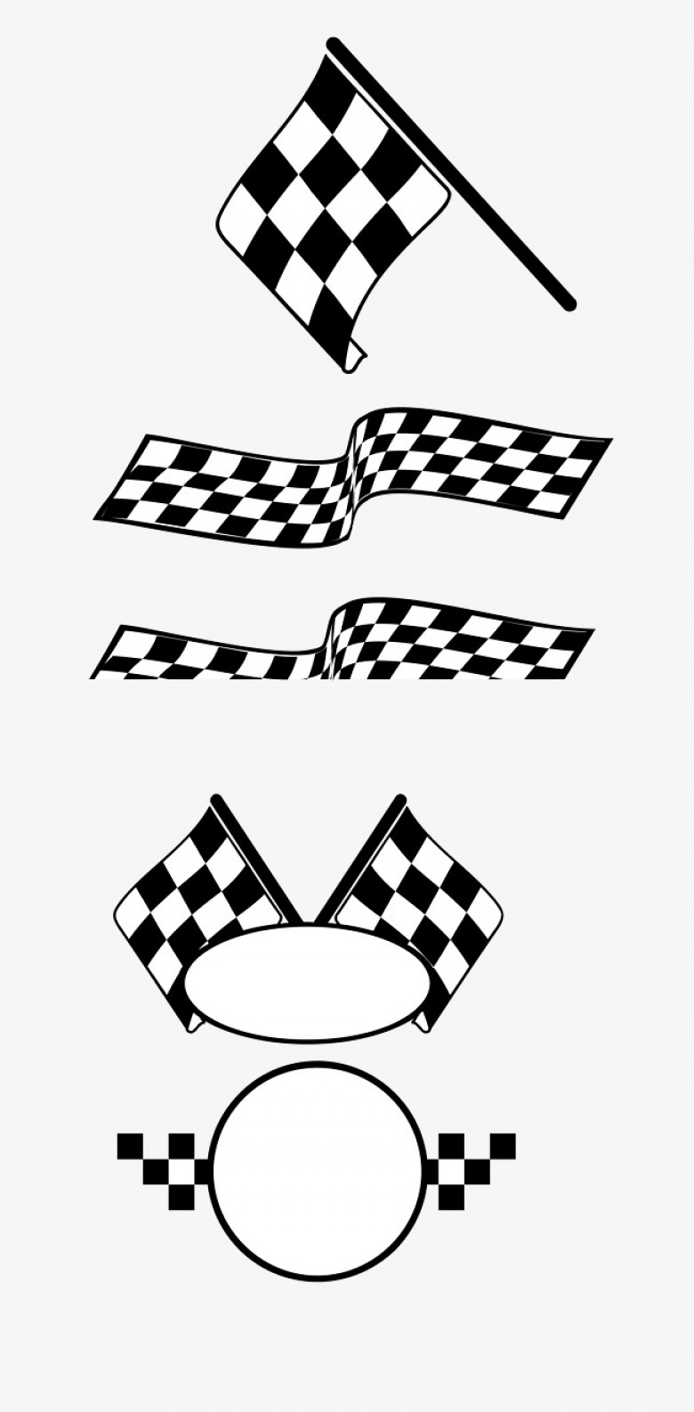 Black And White Vector Racing Graphics: Vector Cartoon Pattern Racing Car Banner