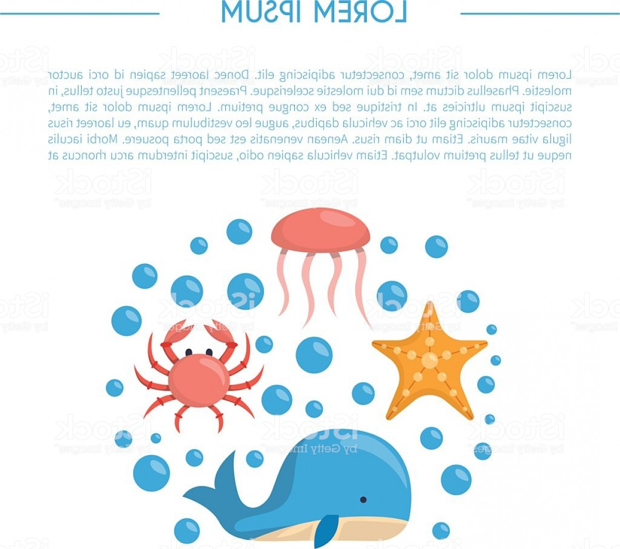 Underwater Sea Vector Art: Vector Cartoon Sea Underwater Creatures Background Gm