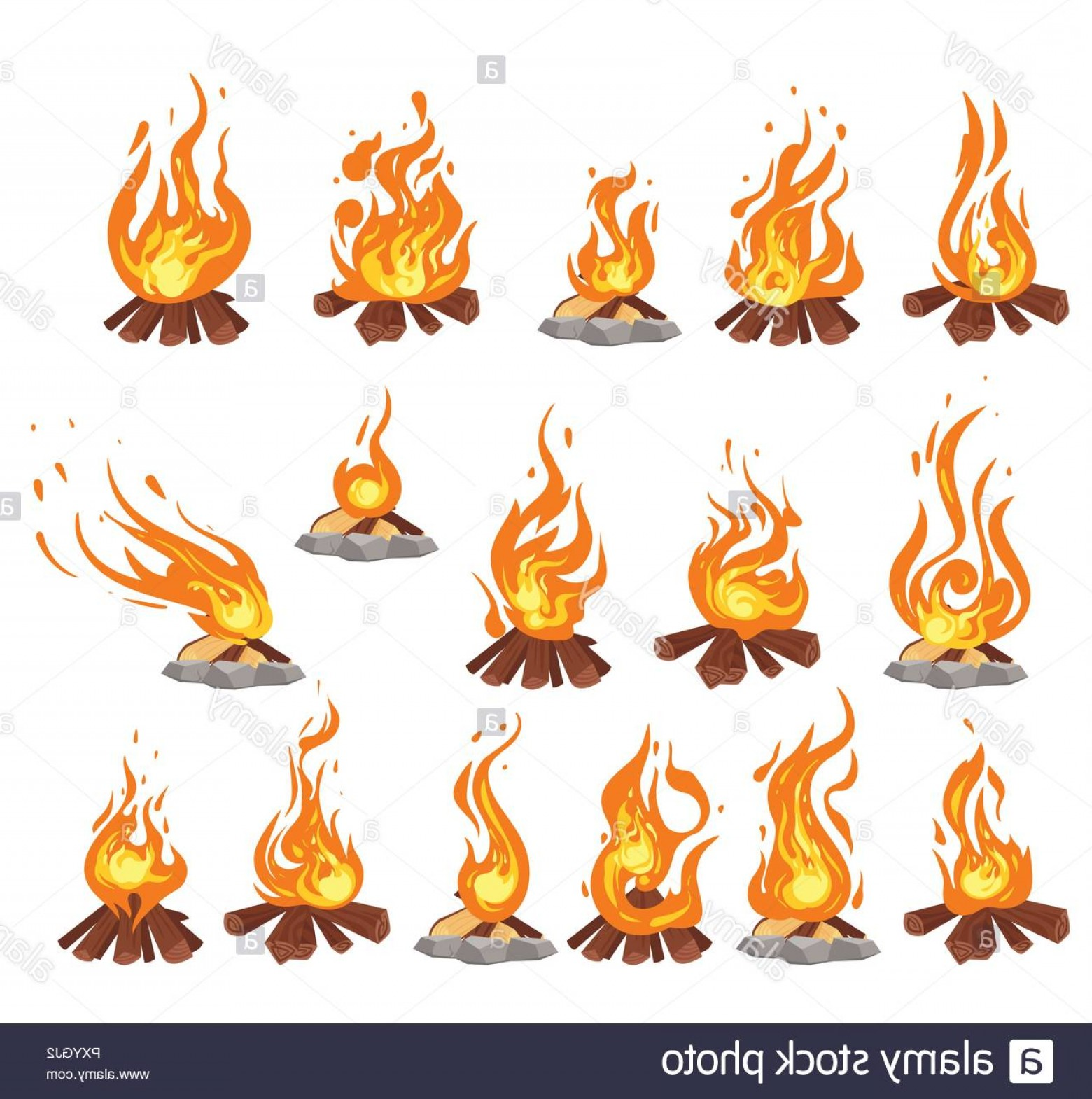 Cartoon Fire Flames Vector: Vector Cartoon Style Set Of Bonfire With Logs Fire Flames Icon For Web Isolated Design On White Background Image