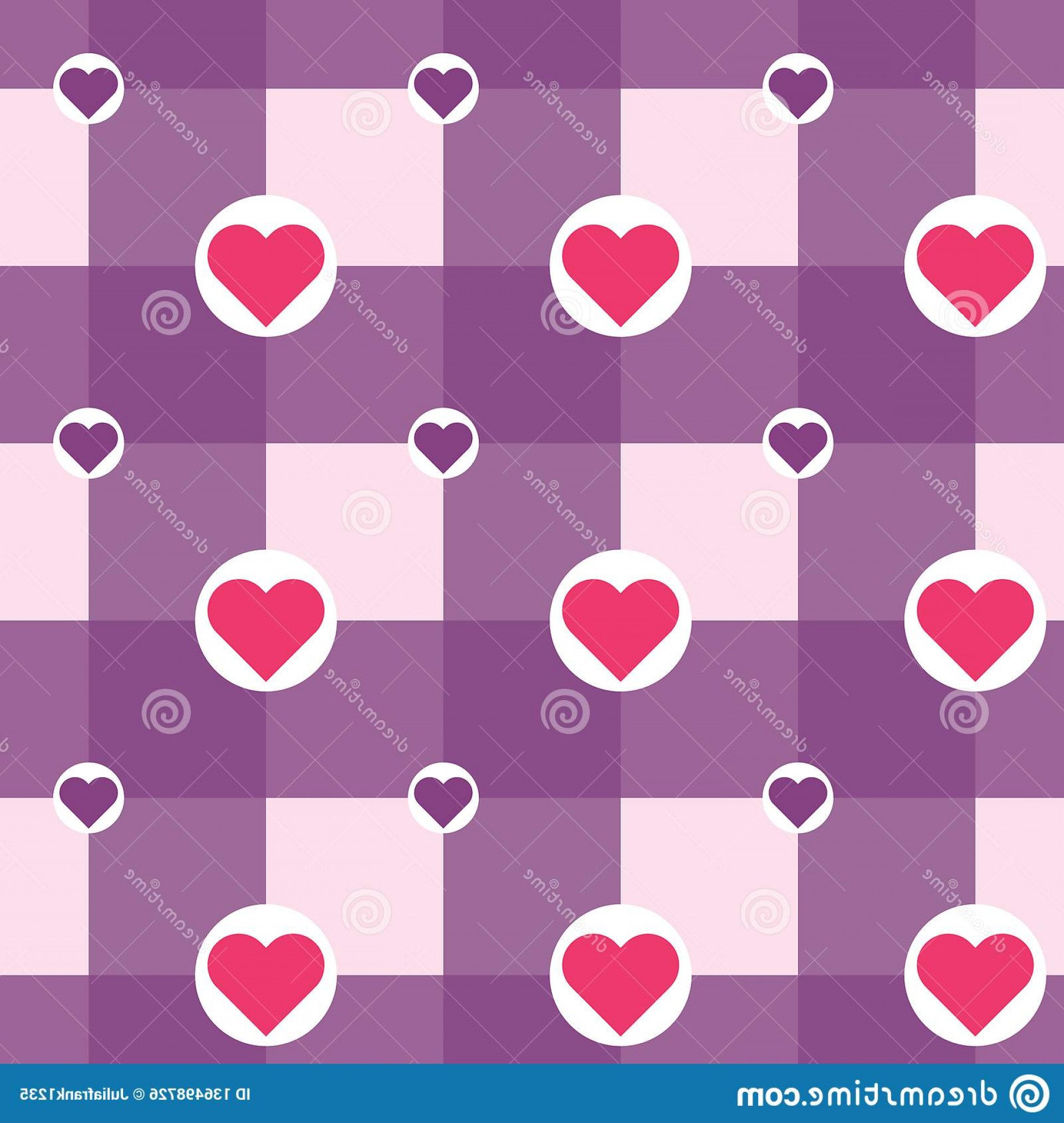 Vector Checkered Flag Heart: Vector Checkered Hearts Circles Pattern Seamless Background Violet Purple Pink Red White Colors Love Theme Valentine S Image