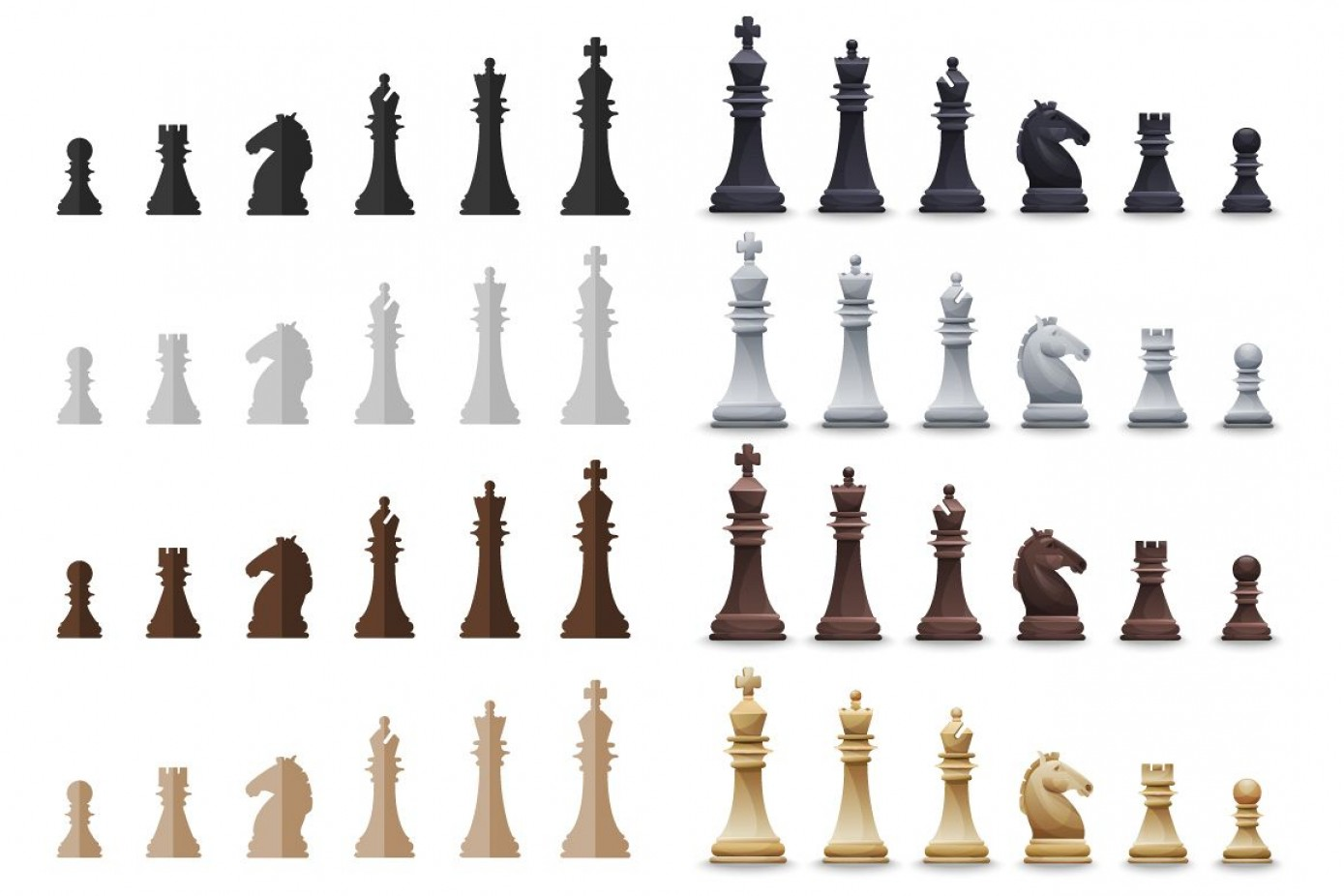 Vector Chess Board: Vector Chess Set Sets Pieces In Slyles Posters Pattern Chessboard