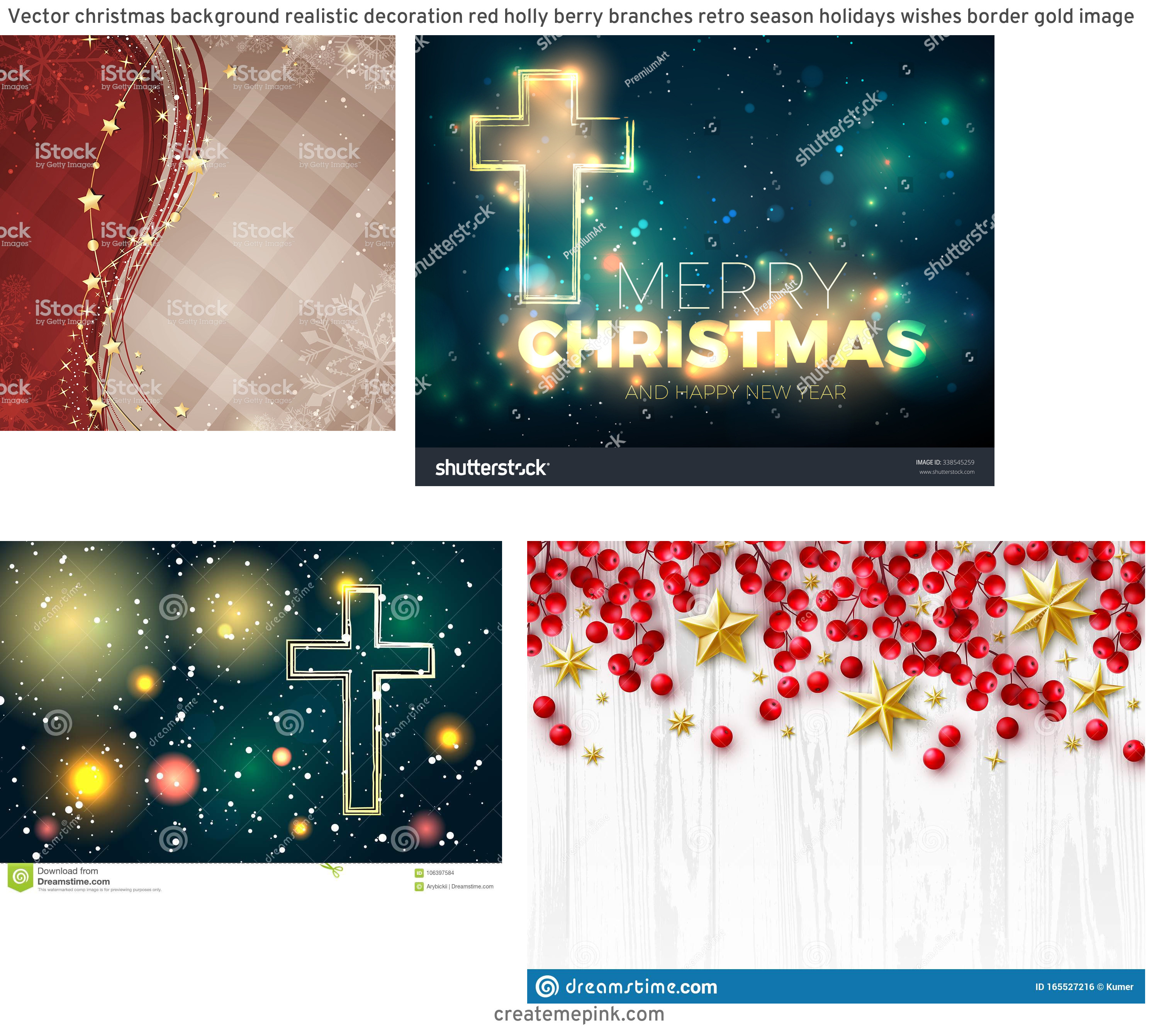 Vector Christmas Background Cross: Vector Christmas Background Realistic Decoration Red Holly Berry Branches Retro Season Holidays Wishes Border Gold Image