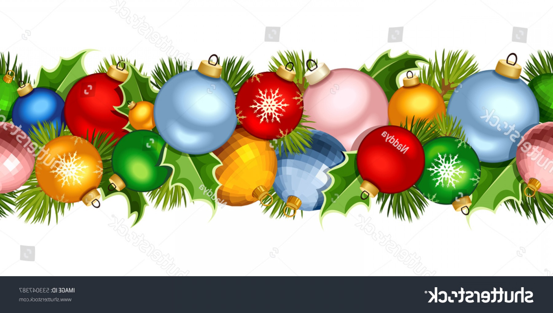 Christmas Horizontal Vector: Vector Christmas Horizontal Seamless Garland Colorful