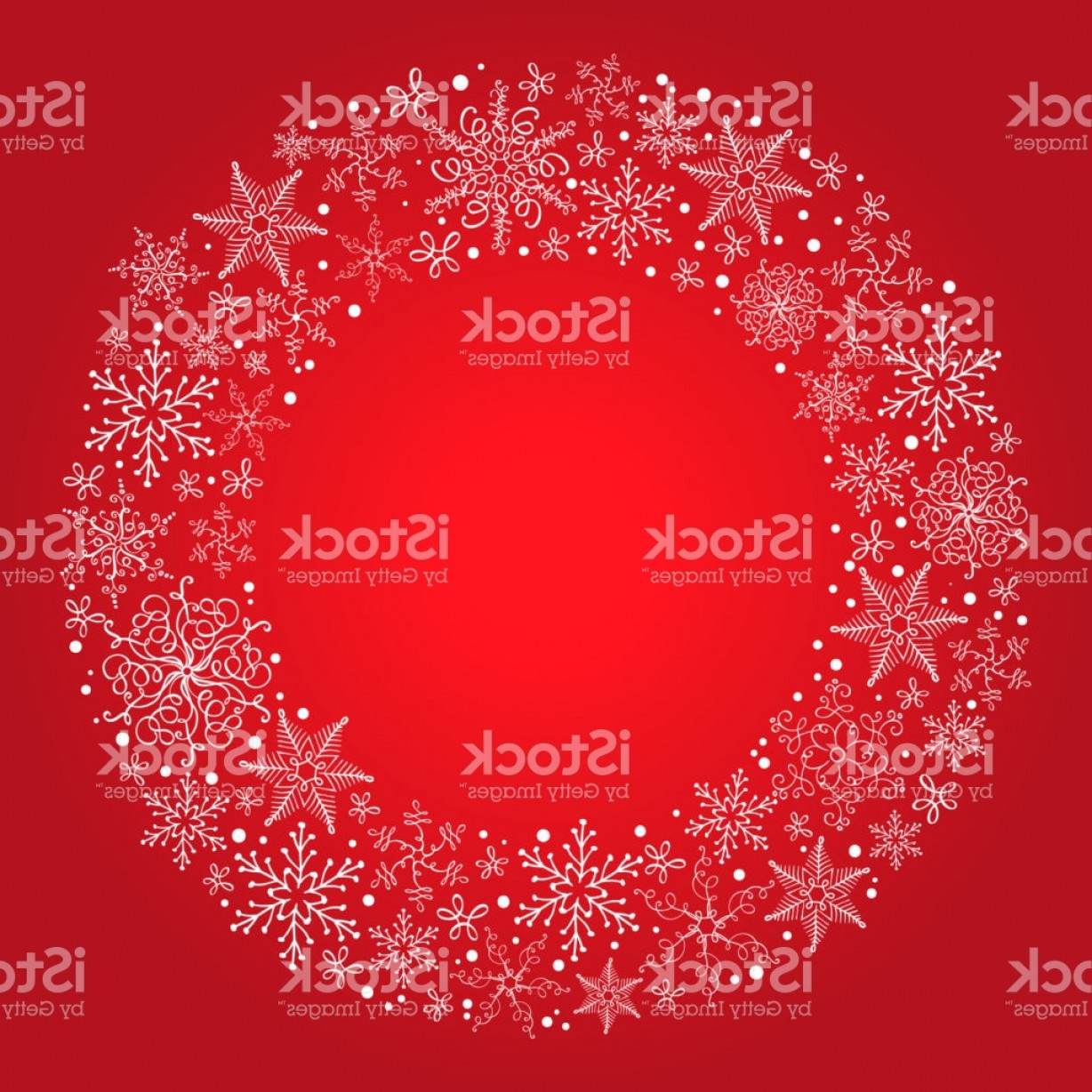 Vector Snowflake Wreath: Vector Christmas Red Background With Snowflake Wreath Gm