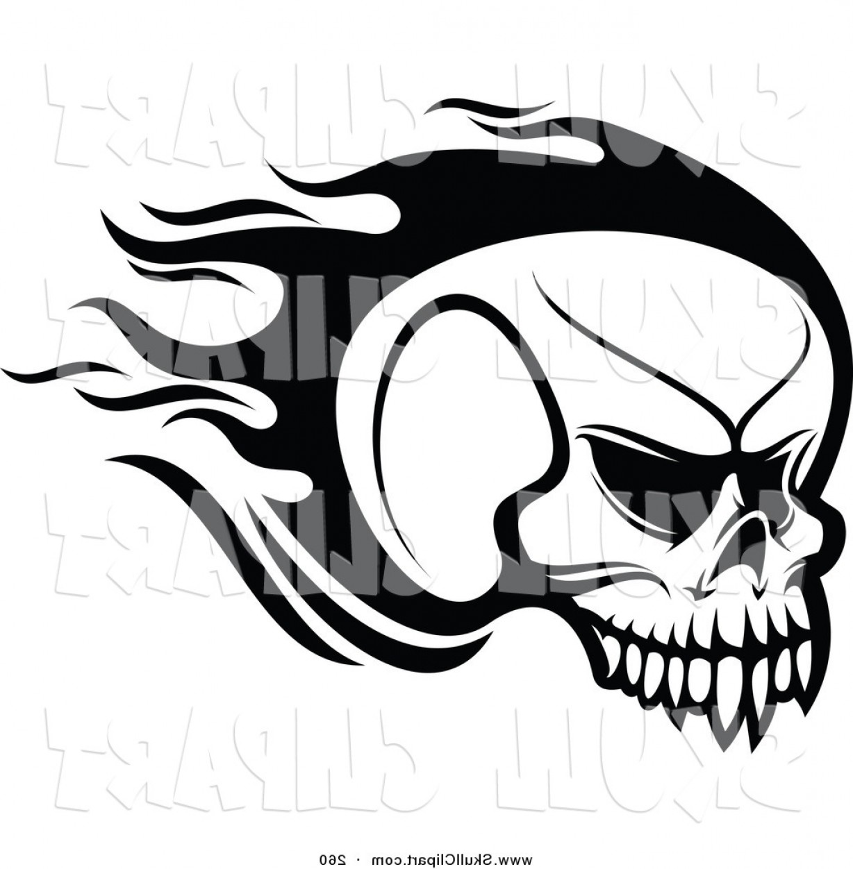 Flying Skull Vector: Vector Clip Art Of A Black And White Flying Flaming Skull Logo By Vector Tradition Sm