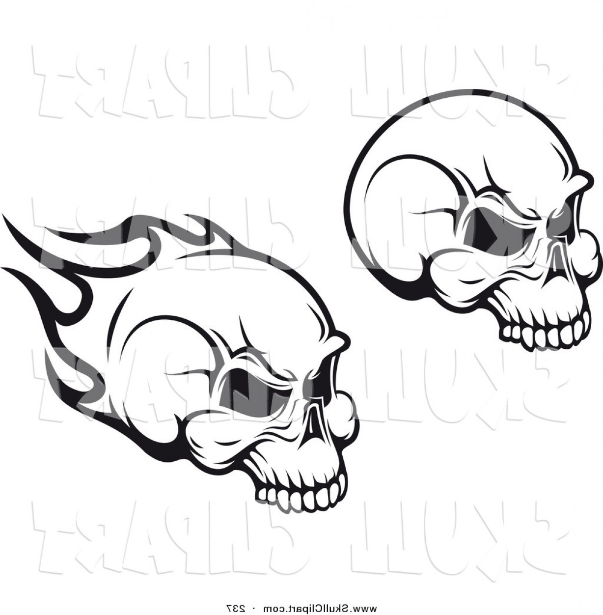Flying Skull Vector: Vector Clip Art Of A Black And White Flying Flaming Skulls Digital Collage By Vector Tradition Sm
