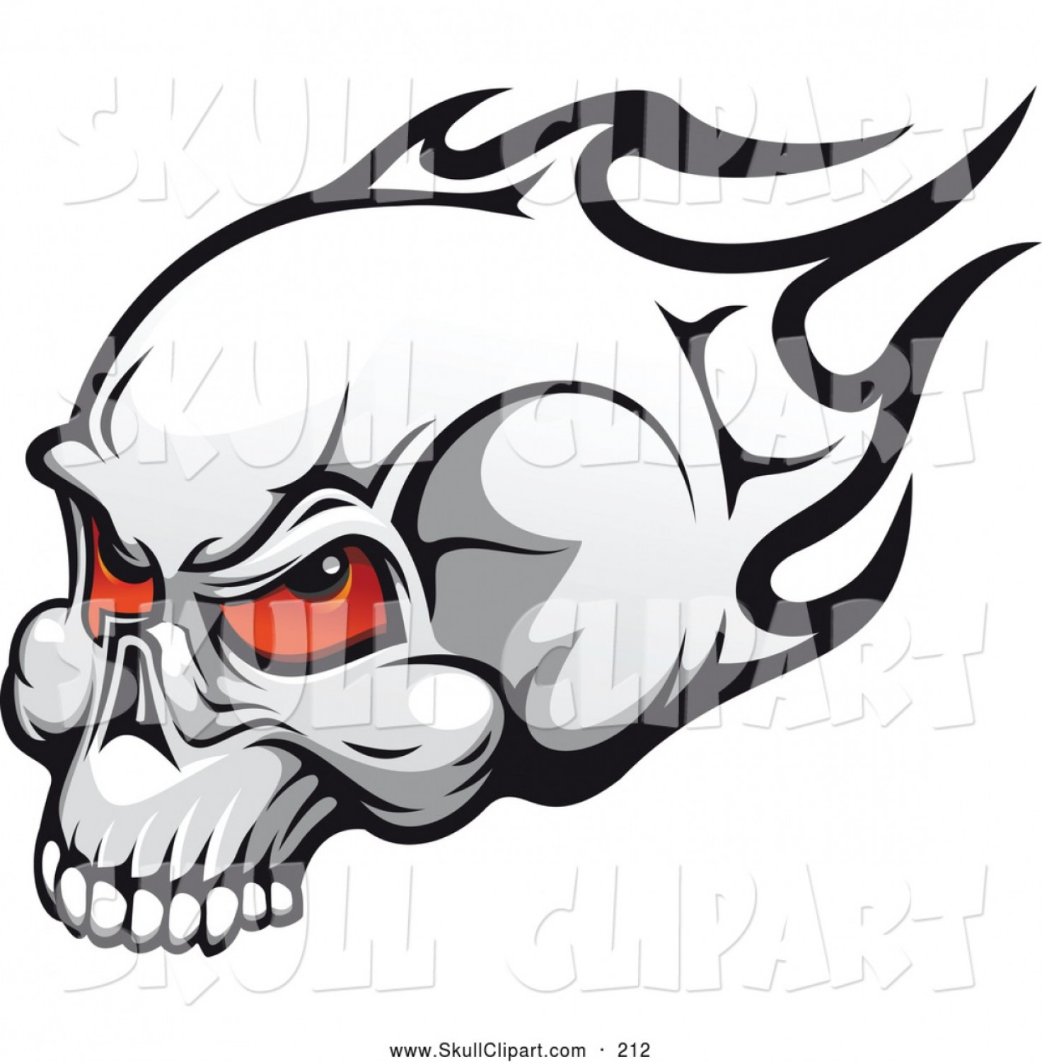 Flying Skull Vector: Vector Clip Art Of A Flaming Skull With Red Eyes Flying Left By Vector Tradition Sm