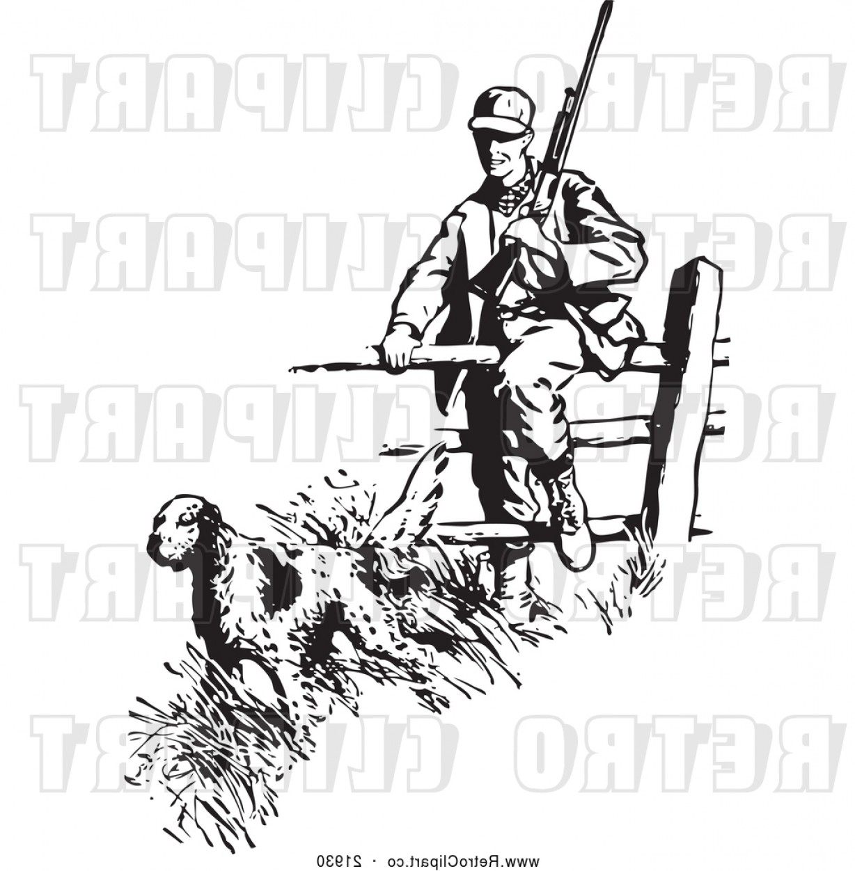 Vector Clip Art Hunting: Vector Clip Art Of A Hunting Retro Dog Leading A Hunter Over Fence By Bestvector