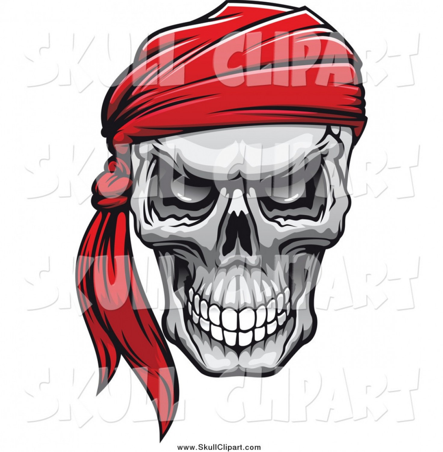 Cool Evil Vectors: Vector Clip Art Of An Evil Human Skull With A Red Bandana By Vector Tradition Sm