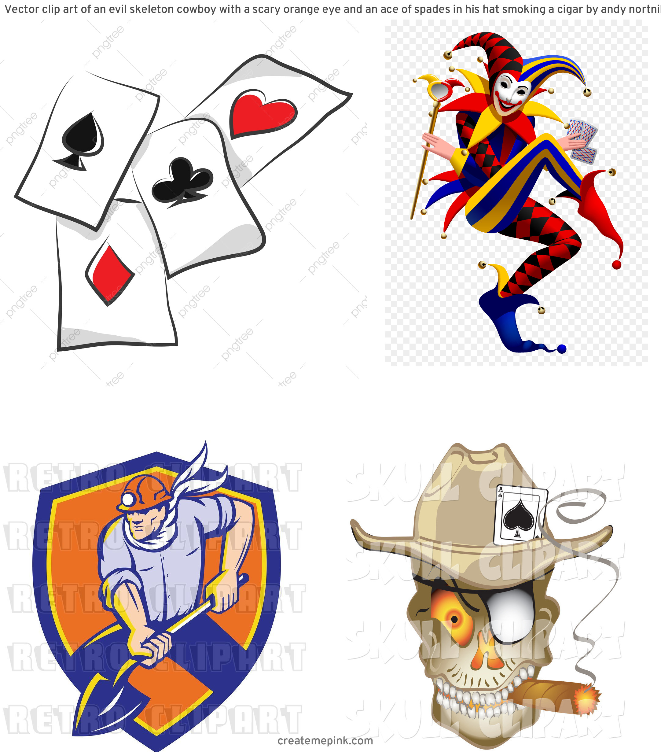 Spade Vector Clip Art: Vector Clip Art Of An Evil Skeleton Cowboy With A Scary Orange Eye And An Ace Of Spades In His Hat Smoking A Cigar By Andy Nortnik