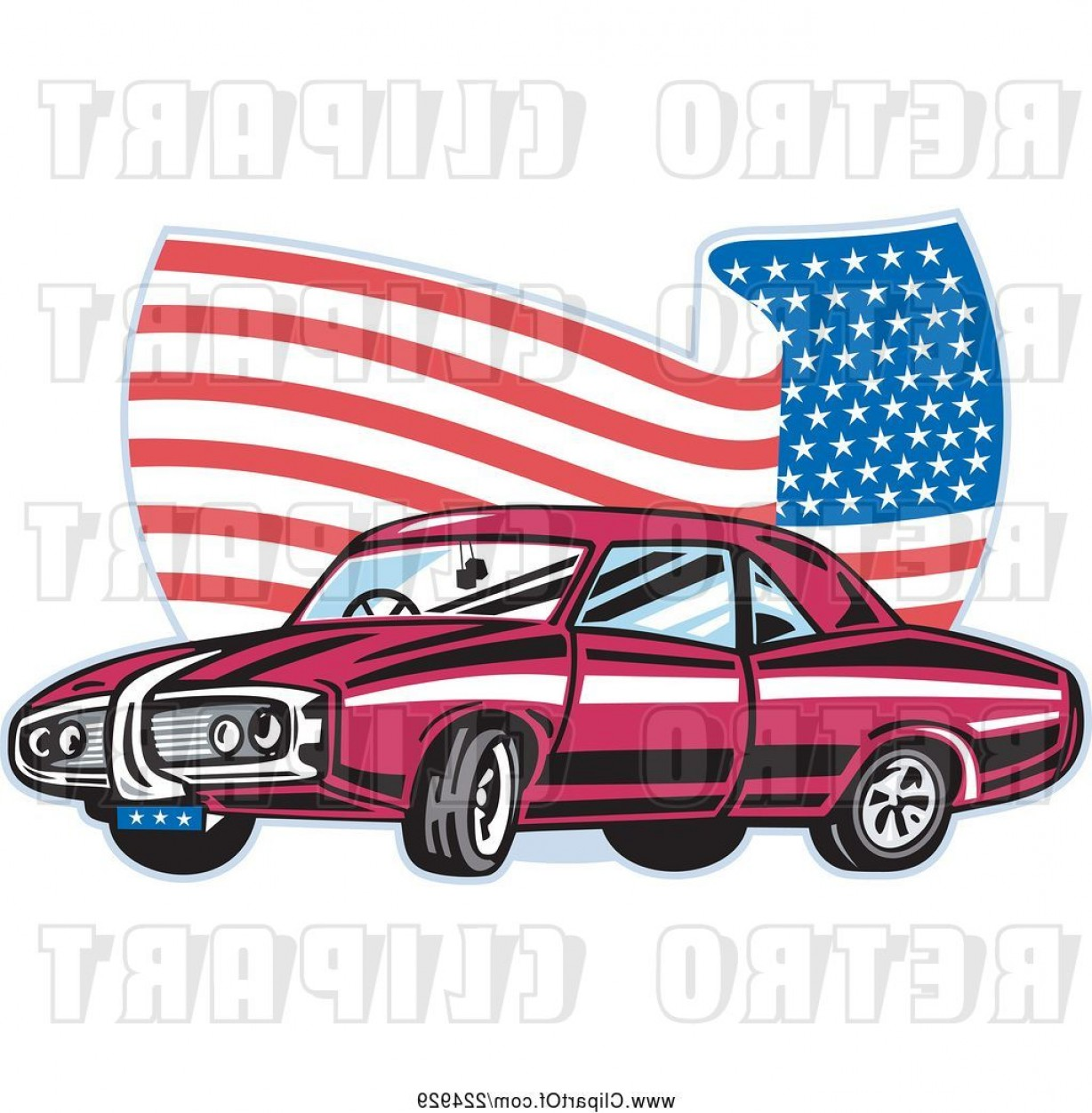 1969 Camaro Vector: Vector Clip Art Of Pontiac Car And Wavy American Flag Logo By Patrimonio