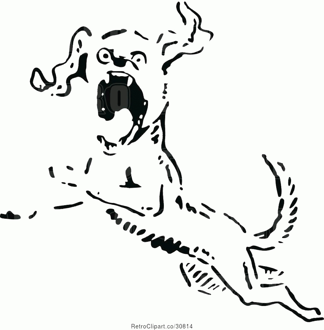 Angry Dog Vector Black And White: Vector Clip Art Of Retro Angry Dog Leaping By Prawny Vintage