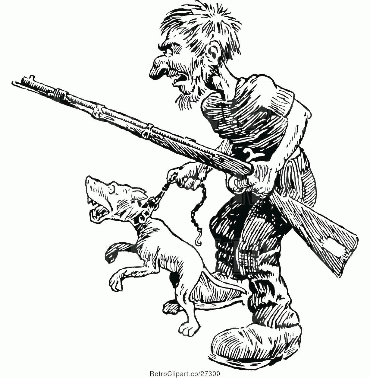Angry Dog Vector Black And White: Vector Clip Art Of Retro Guy With A Rifle And Angry Dog By Prawny Vintage